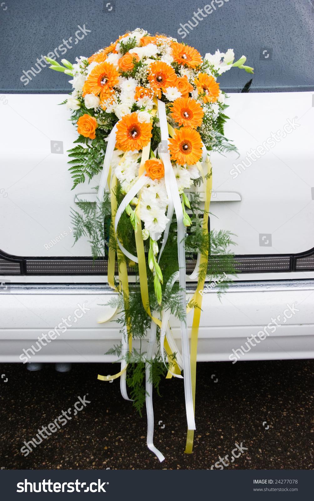 White Limousine Back Big Flower Bouquet Stock Photo Royalty Free