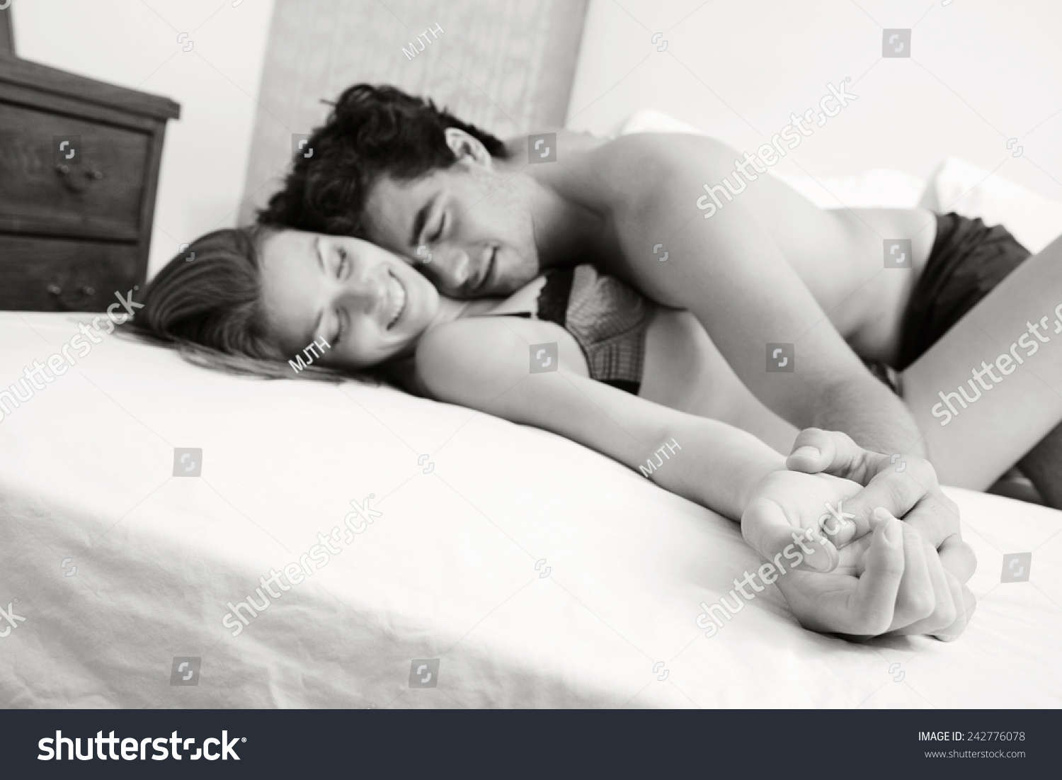 Black and white intimate sex