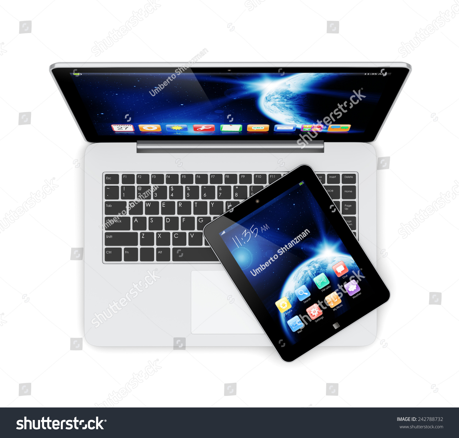 Laptop Tablet Pc Computer Space Dawn Stock Illustration 242788732