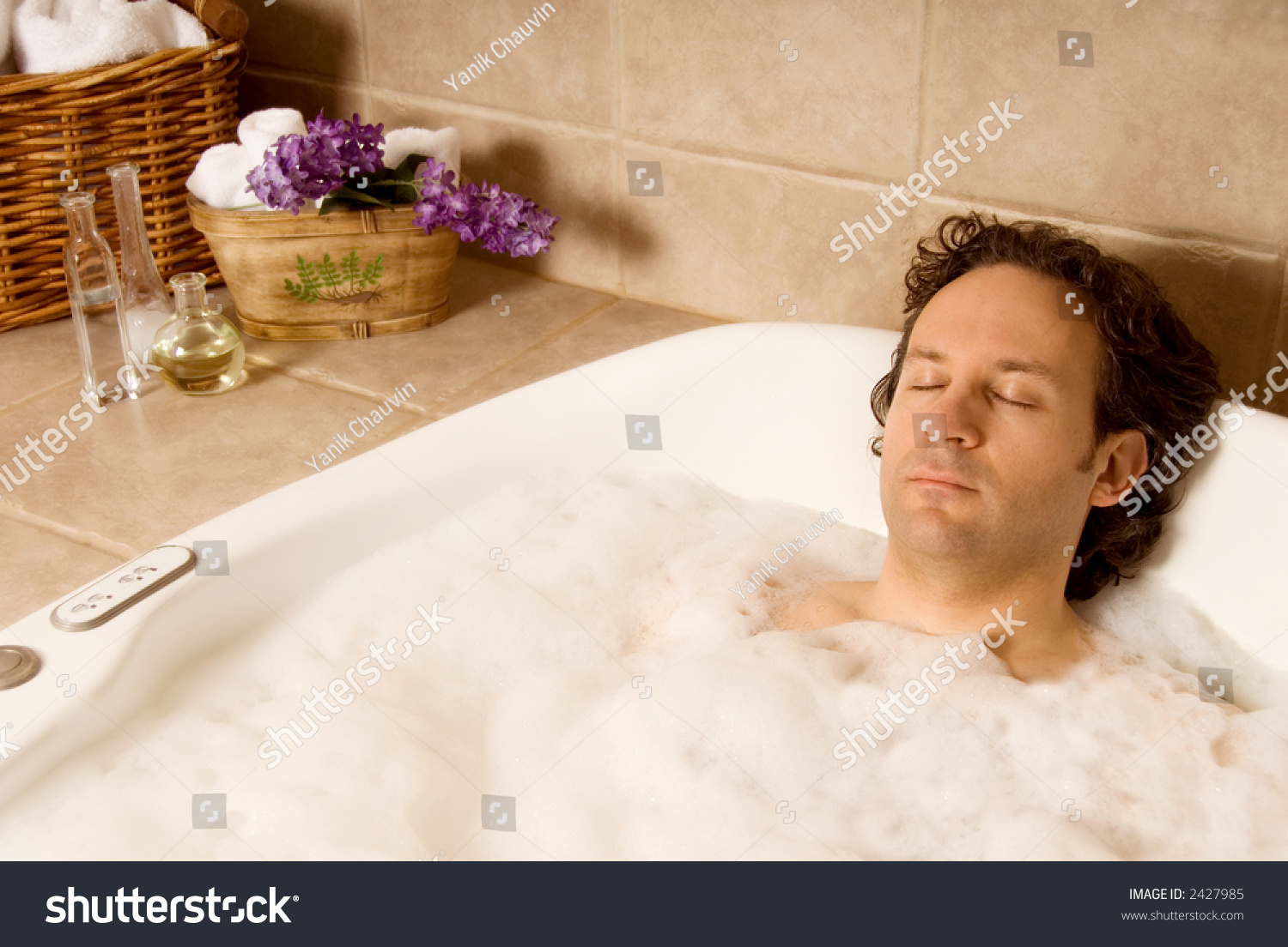 Man Client Getting Bubble Bath Spa Stock Photo (Download Now ...