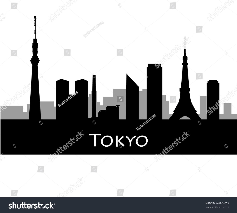 tokyo city skyline vector silhouette illustration stock vector rh shutterstock com city skyline vector png skyline city vector