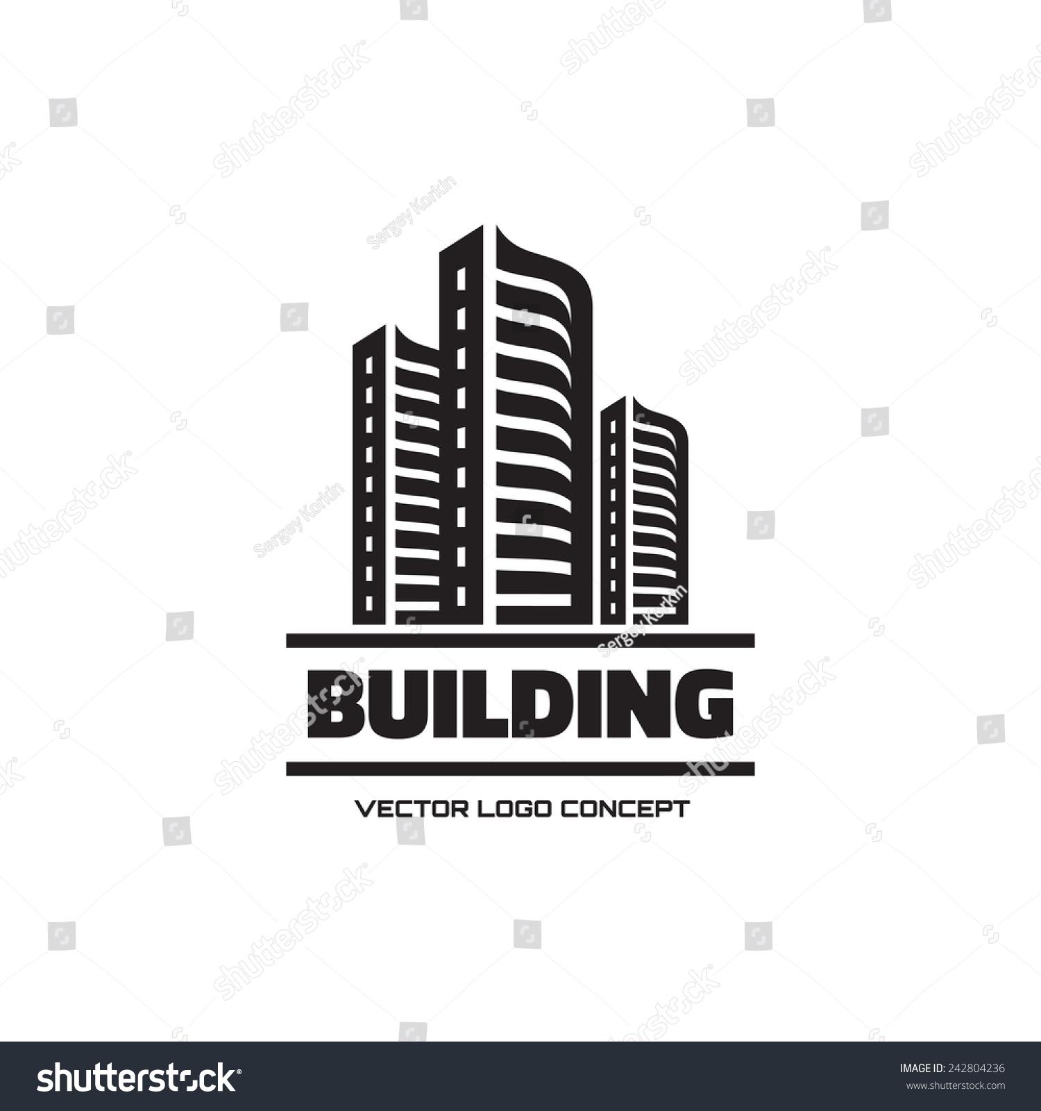Building Vector Logo Real Estate Sign Stock Vector