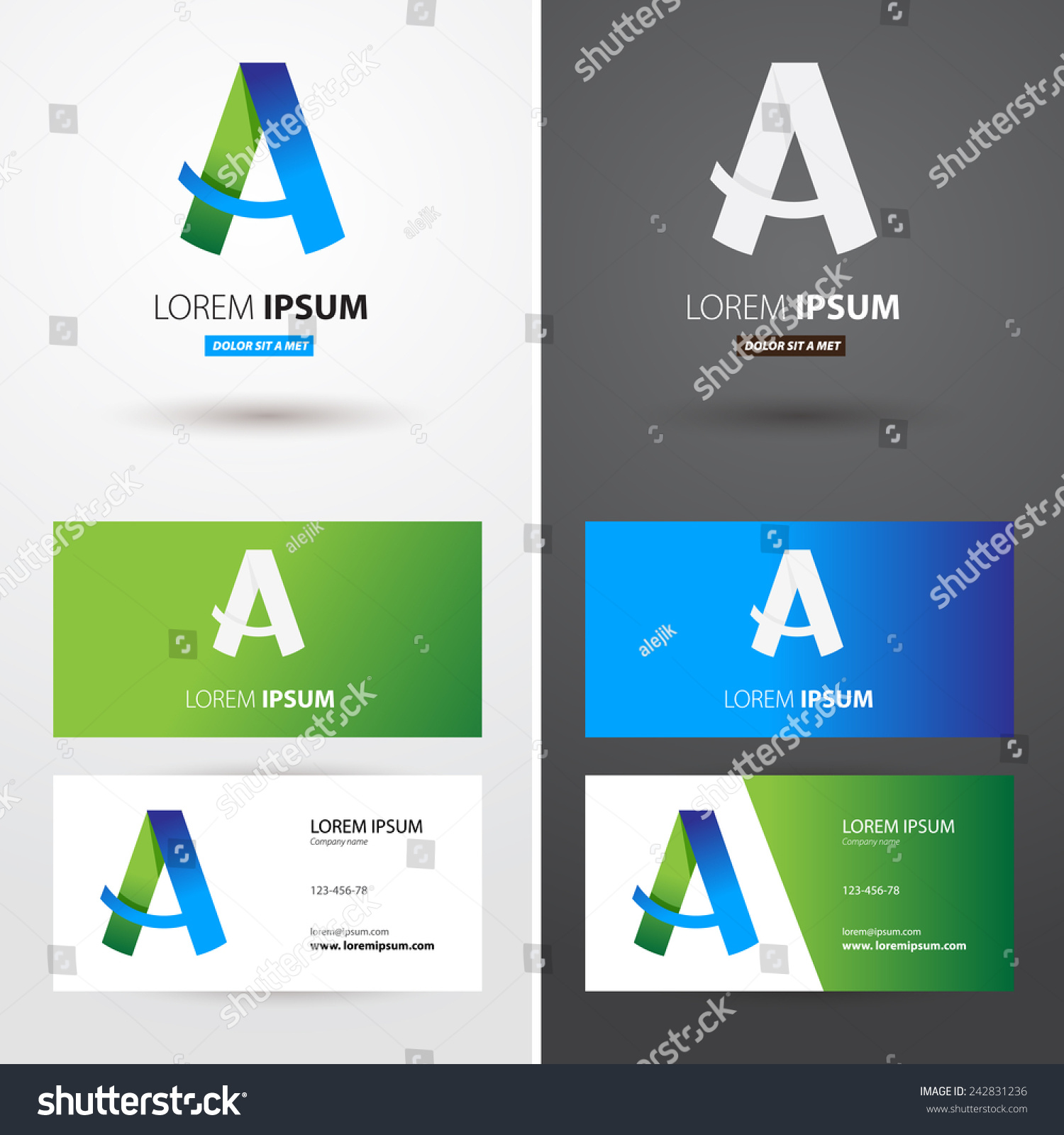 Business Card Logo Letter Text Different Stock Vector