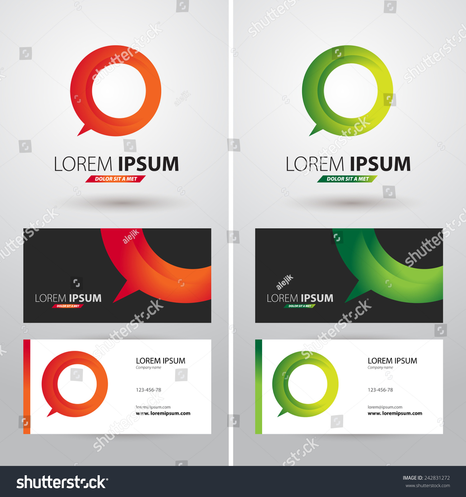 Business Card Logo Text Different Use Stock Vector