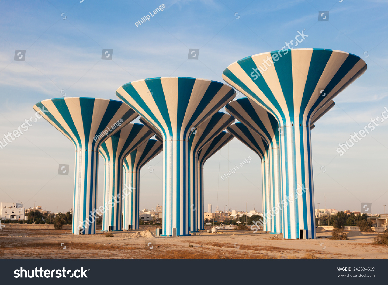 Blue White Water Towers Kuwait Middle Stock Photo ... All Sizes Water Towers Kuwait Photos