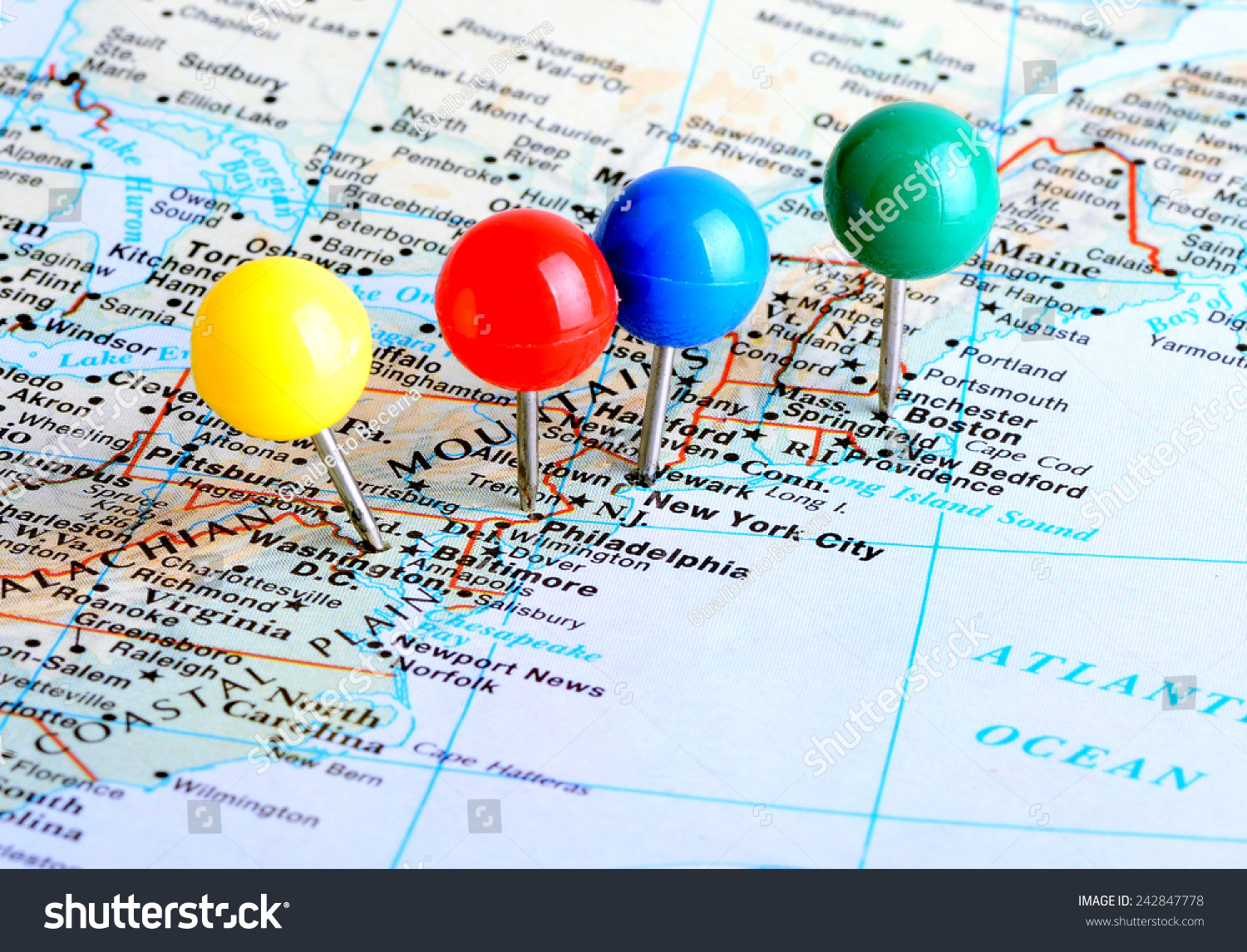 Image of: Macro Shot Map East Coast United Stock Photo Edit Now 242847778