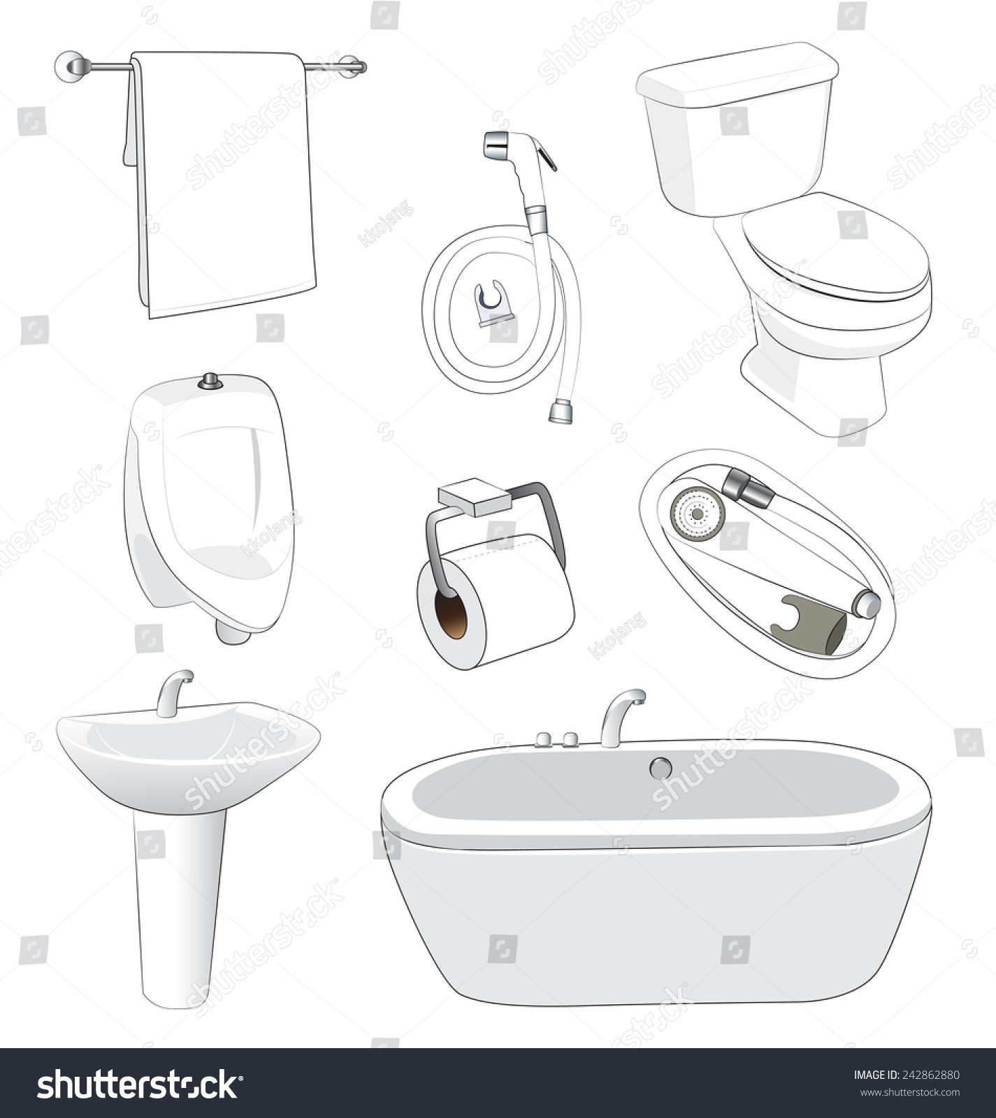 Sanitary Ware Bathroom On White Background Stock Vector 242862880 ...