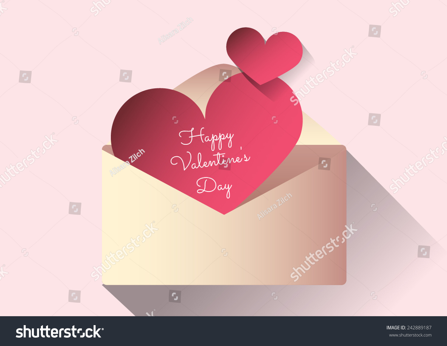 Valentines Day Pink Love Letter Heart Stock Vector 242889187 ...   Valentines  Letter