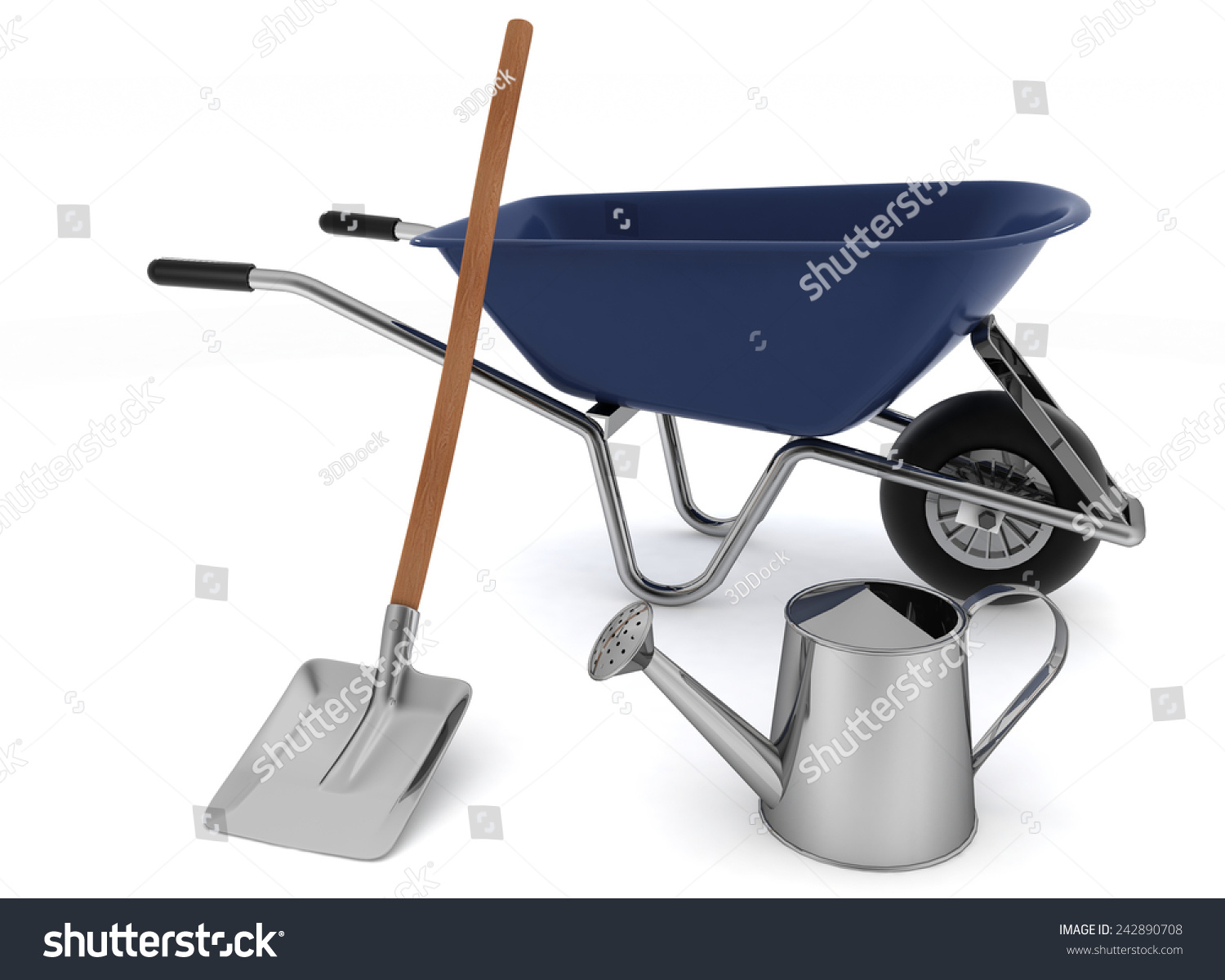 Garden tools garden wheelbarrow watering can and a for Gardening tools 3d model