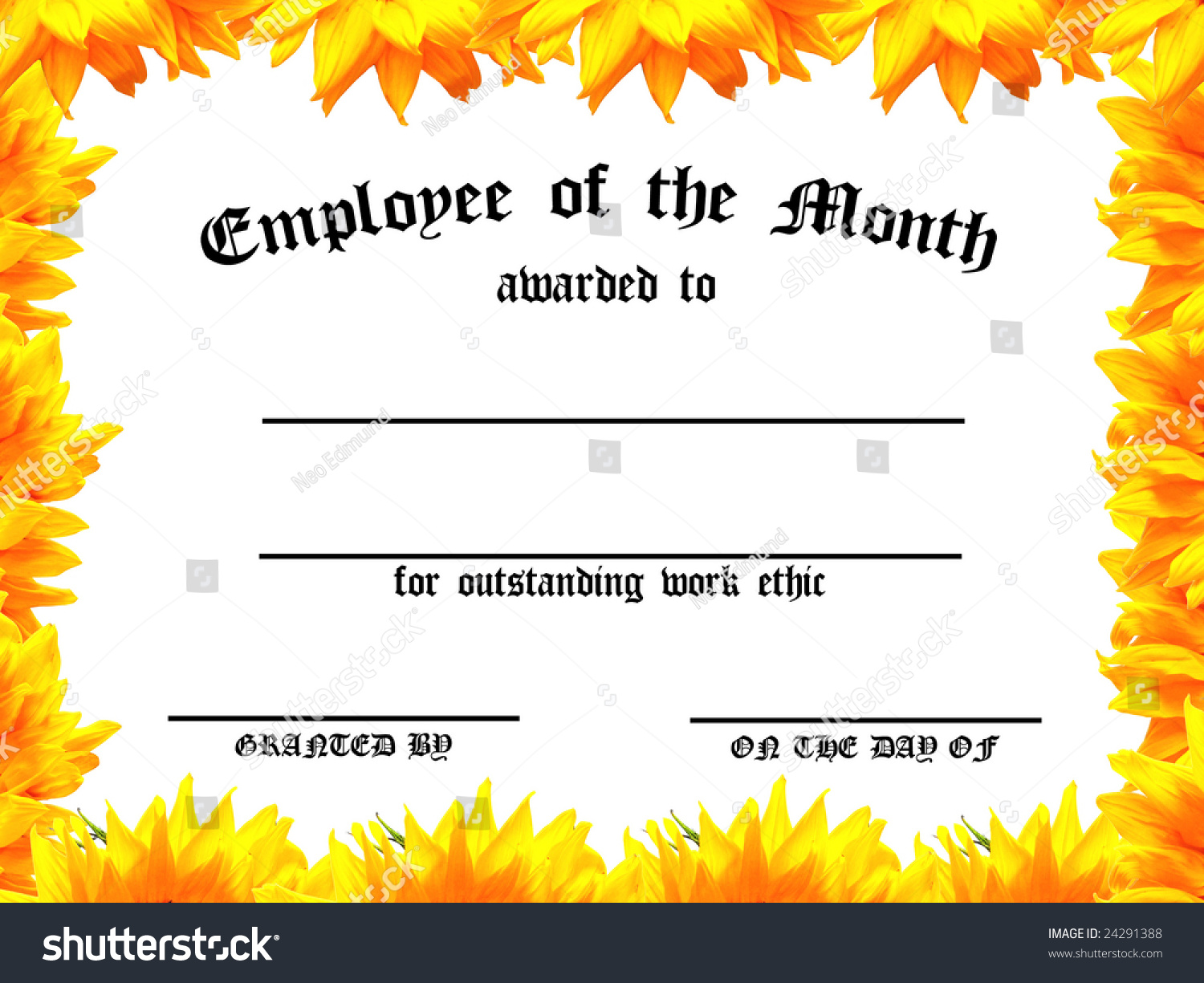 Customizable Employee On Month Certificate Sunflower Stock ...