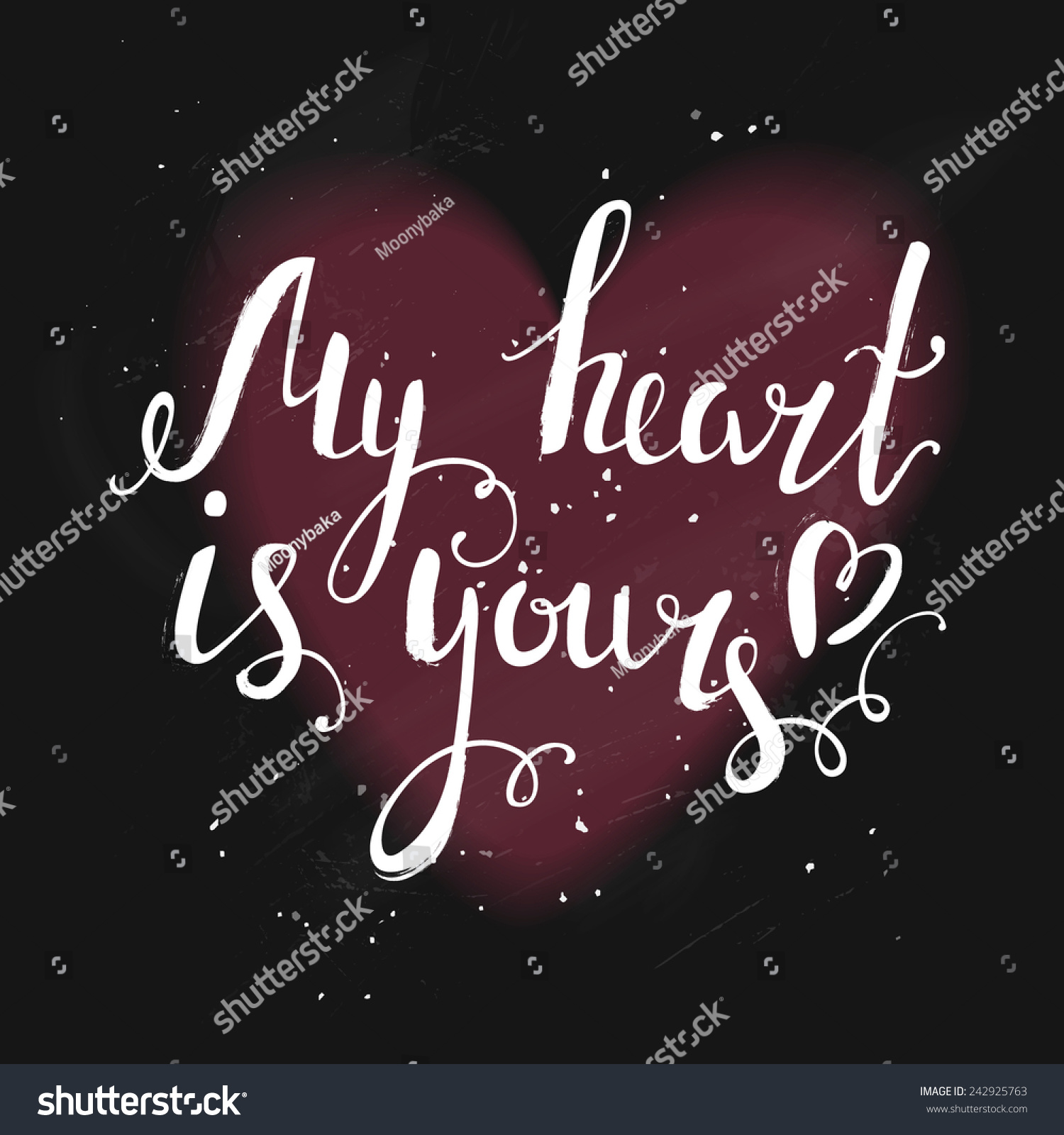 Cute Calligraphic Love Message On Blackboard Stock Vector Royalty