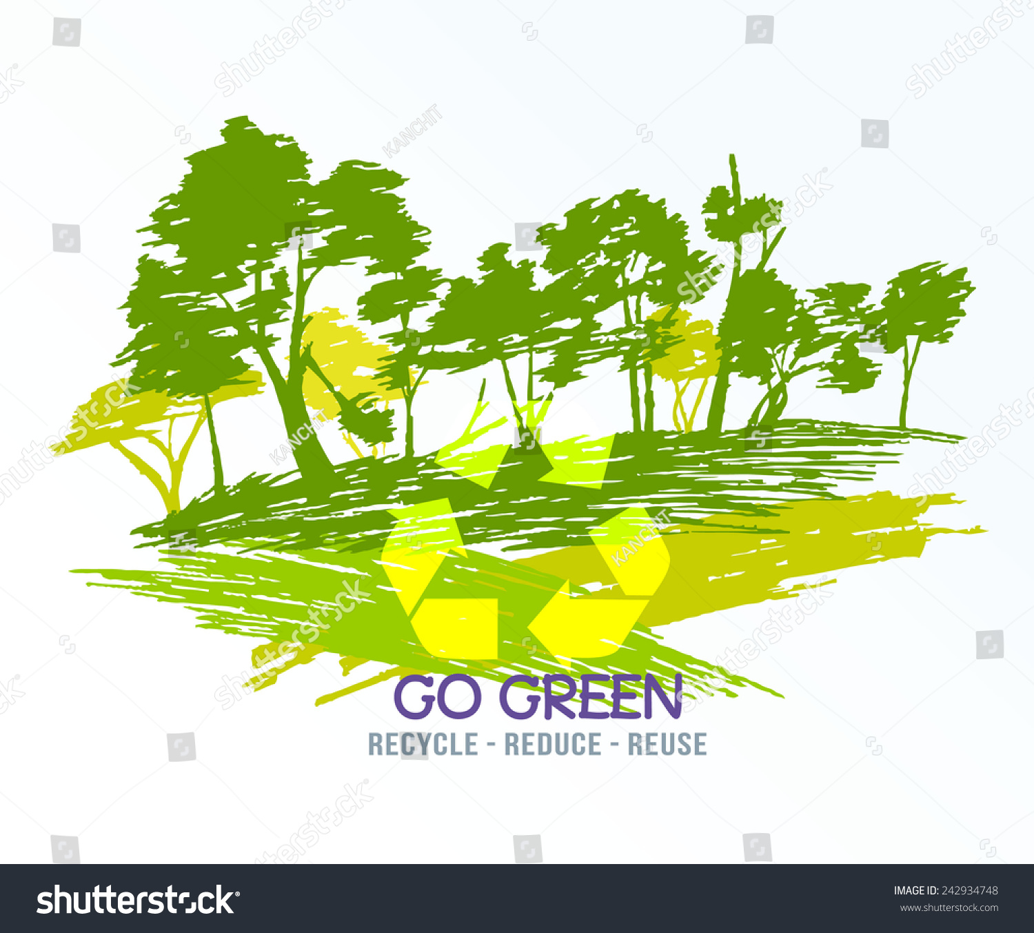 go green recycle reduce reuse eco stock vector 242934748. Black Bedroom Furniture Sets. Home Design Ideas