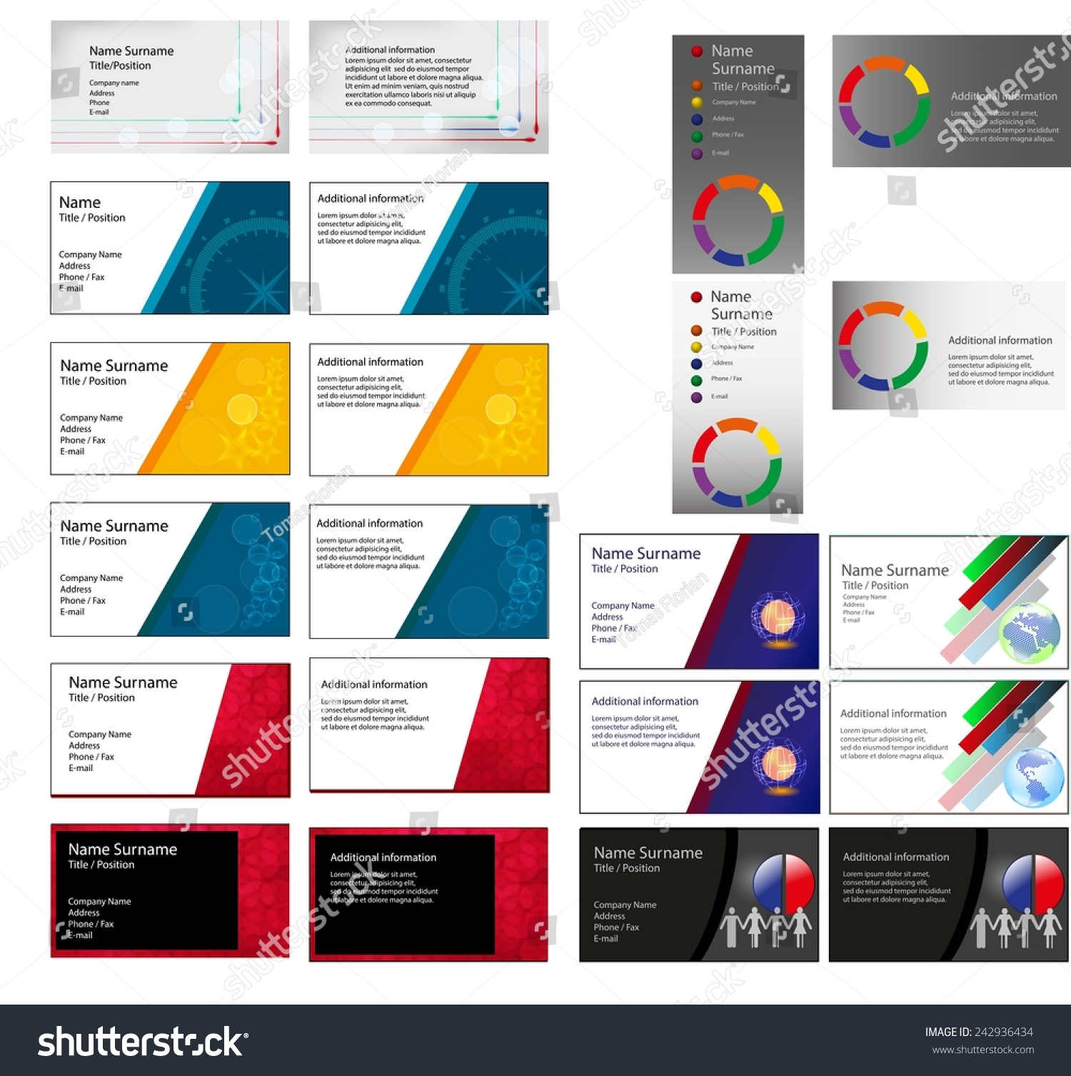 Set Many Different Business Card Layouts Stock Illustration ...