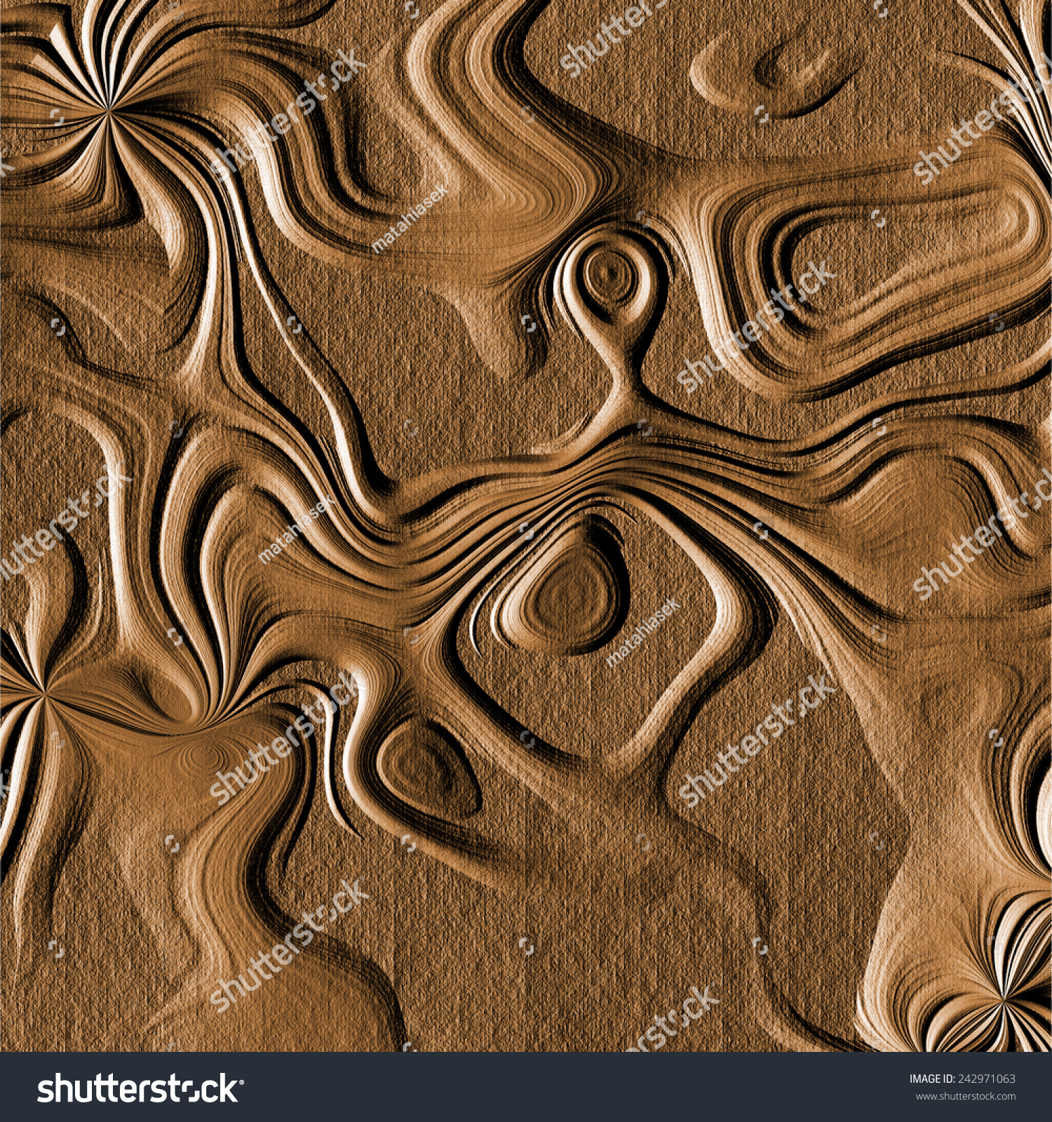 Abstract generated wood carving texture brown stock