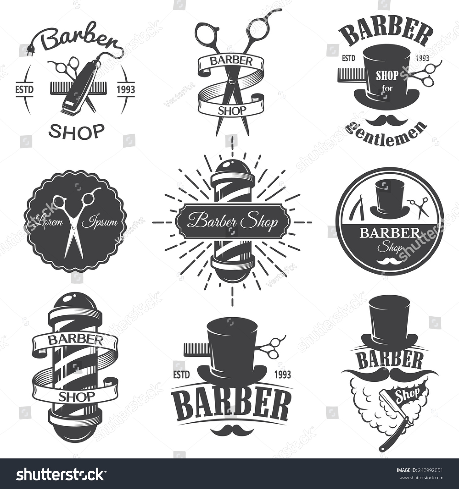Antique barber shop sign - Set Of Vintage Barber Shop Emblems Label Badges And Designed Elements Monochrome Linear