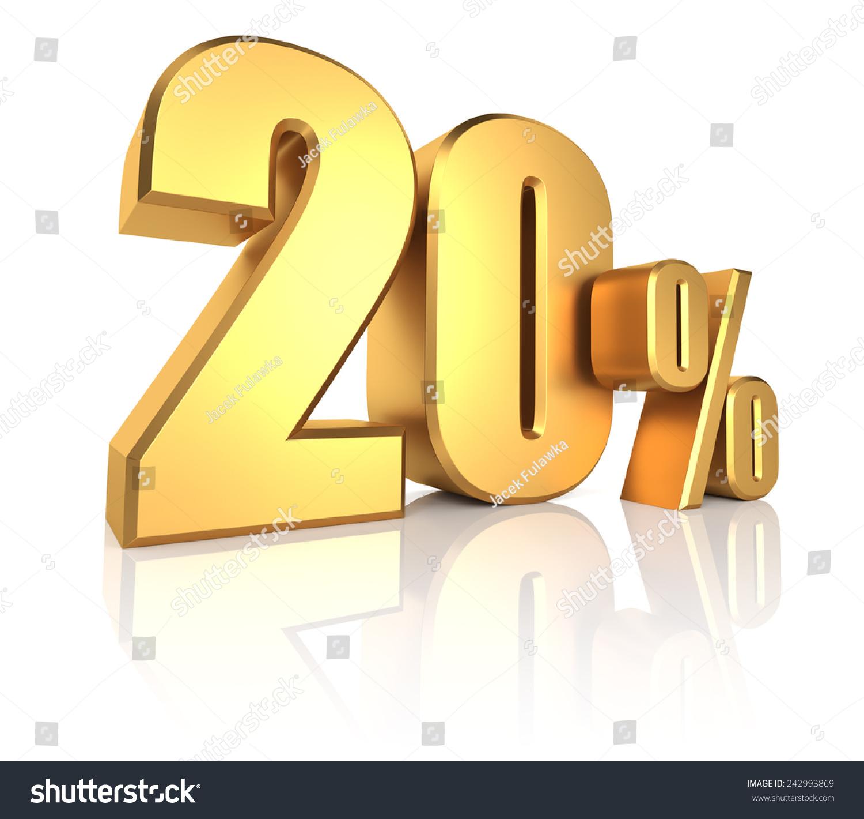 3 D Rendering 20 Percent Gold Metal Stock Illustration 242993869 ...