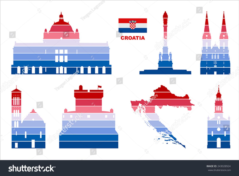 Vector Graphic Symbols Croatia Stock Vector Royalty Free 243028924
