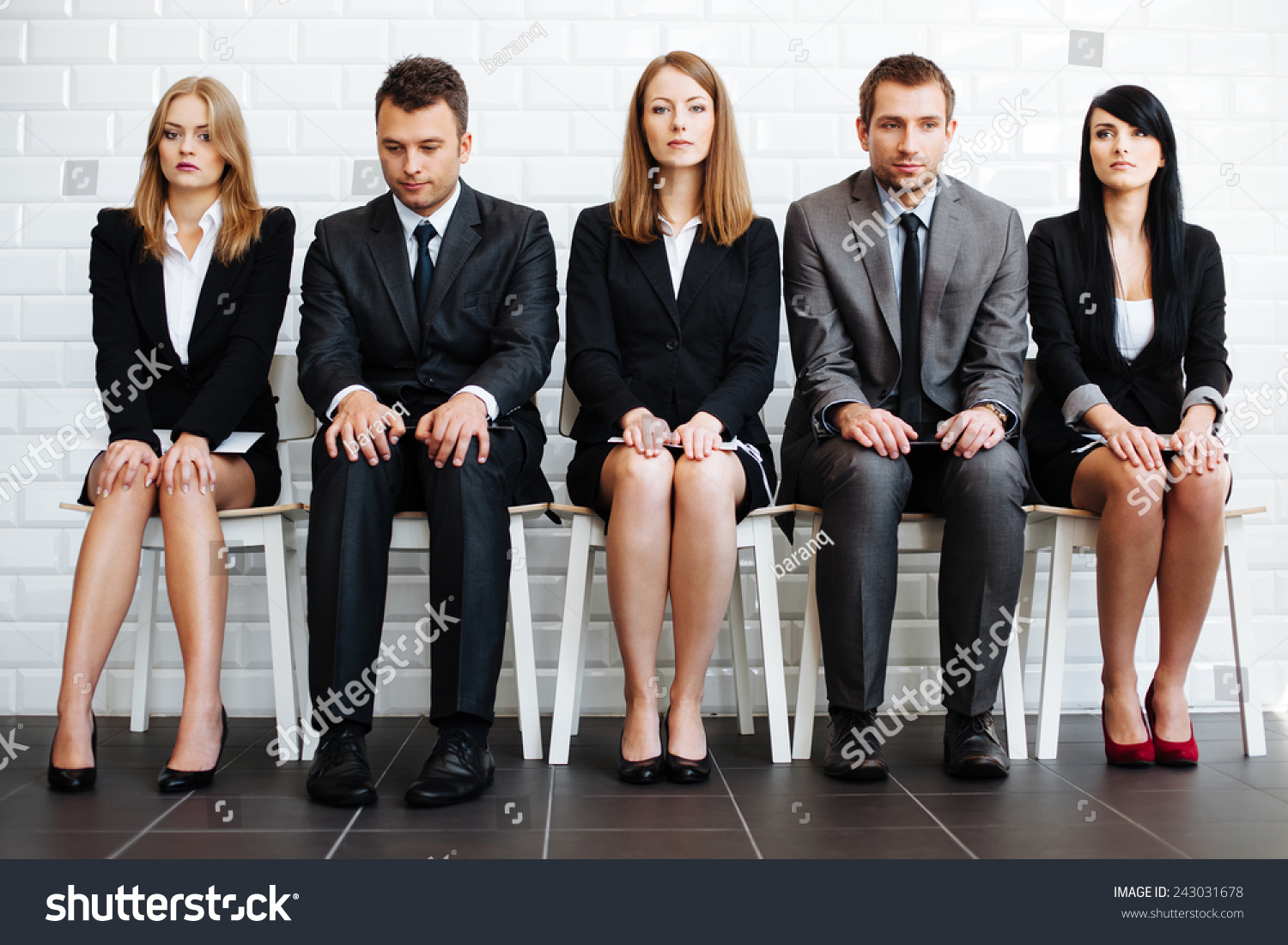 stressed business people wiating job interview stock photo stressed business people wiating for job interview