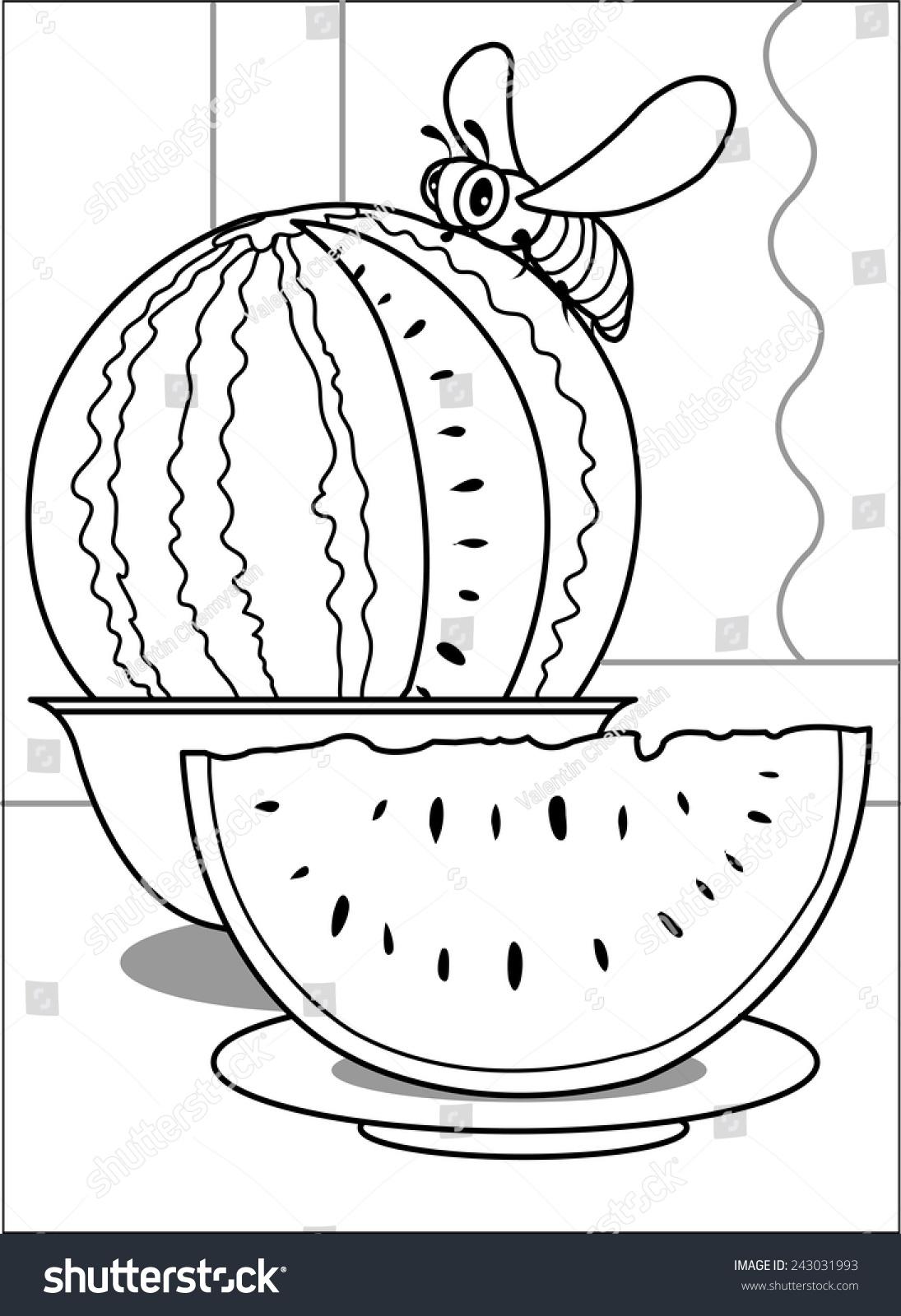 bee on watermelon bee sitting on stock vector 243031993 shutterstock