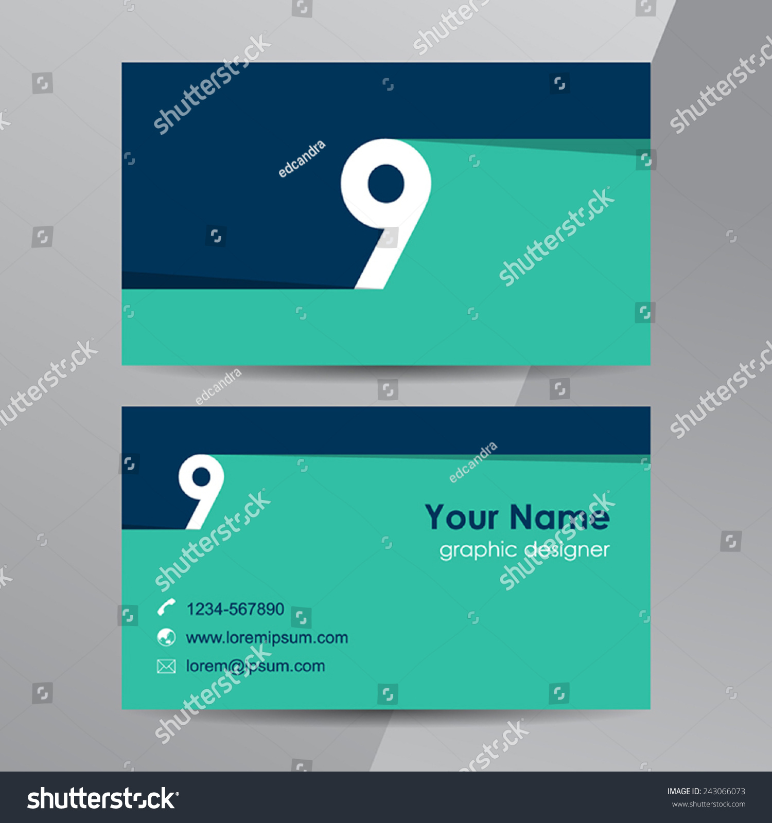 Flat Design Business Cards Template