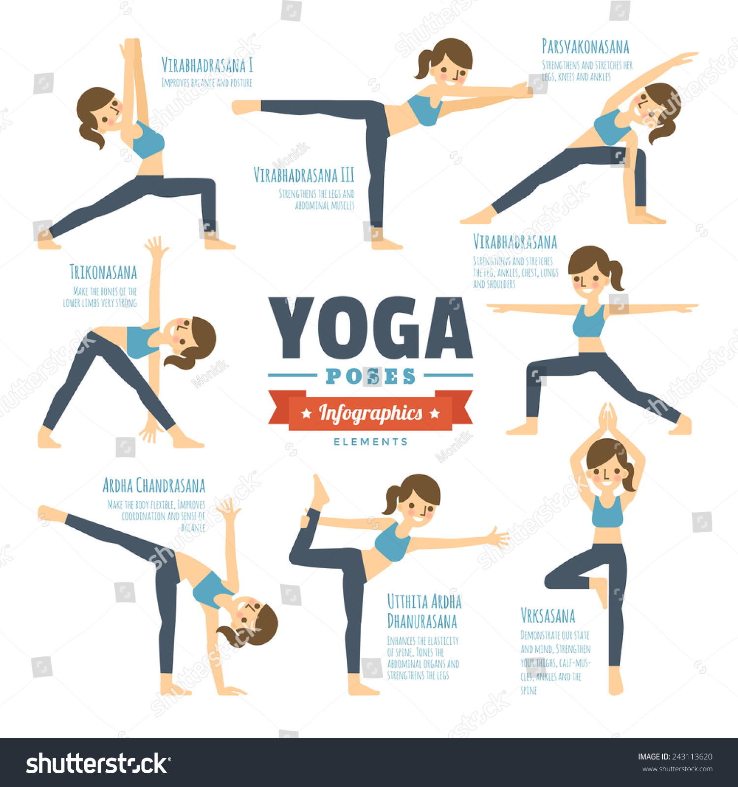 stock-vector-yoga-poses-infographic-elem