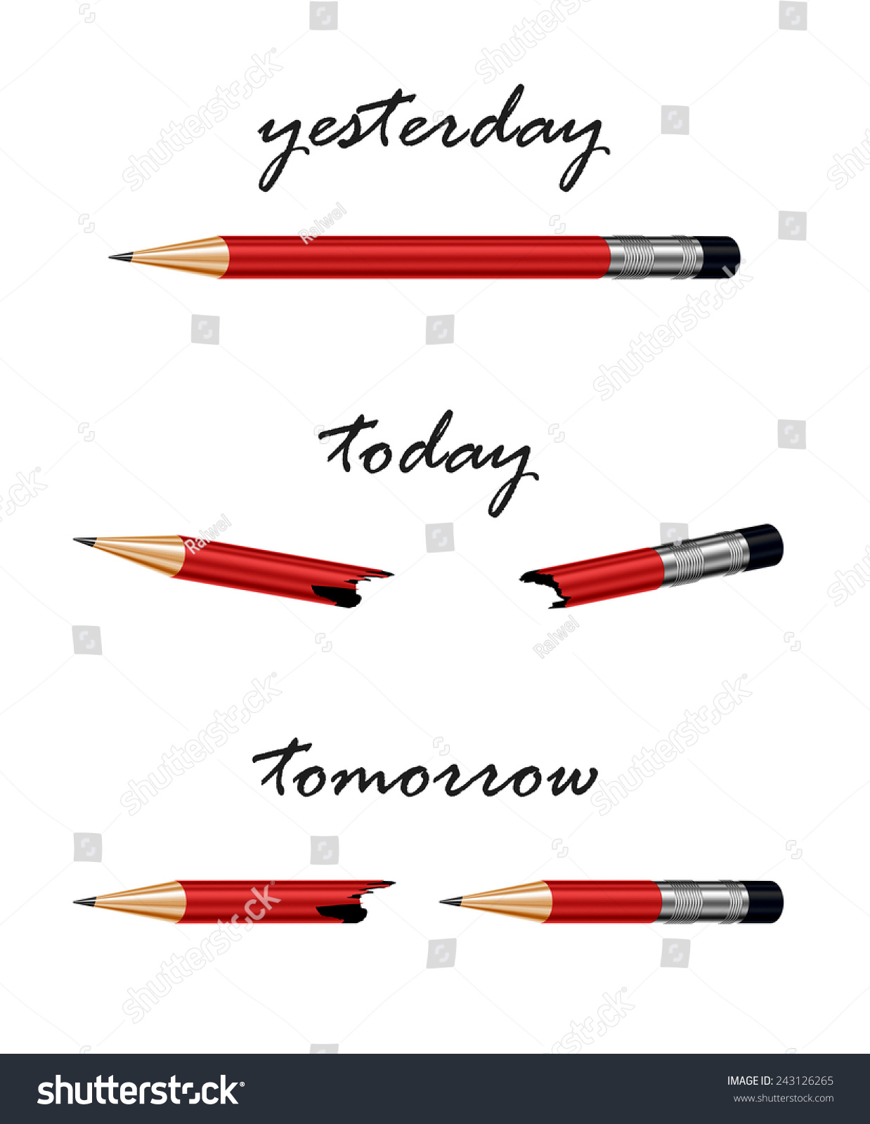 Red Pencil With Words Tomorrow, Today And Yesterday ...