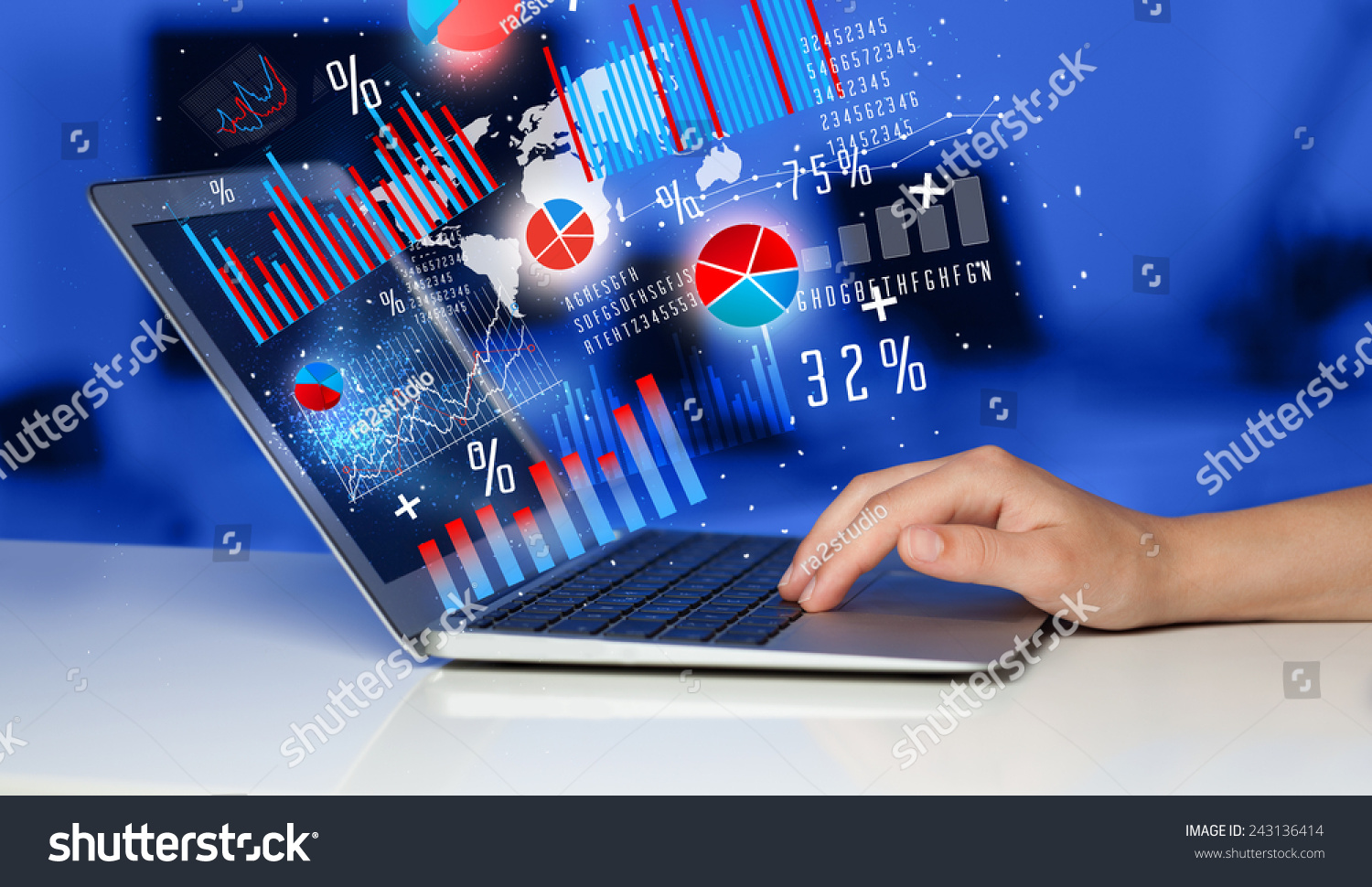 Hand Typing On Modern Laptop Notebook Stock Photo Royalty Free