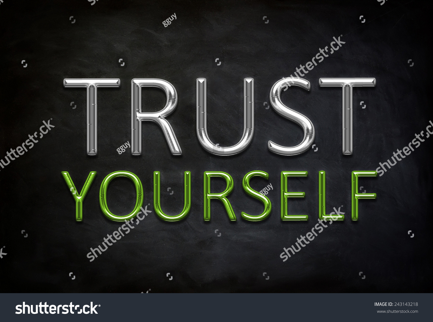 Trust Yourself Motivational Quote With Chalkboard Background