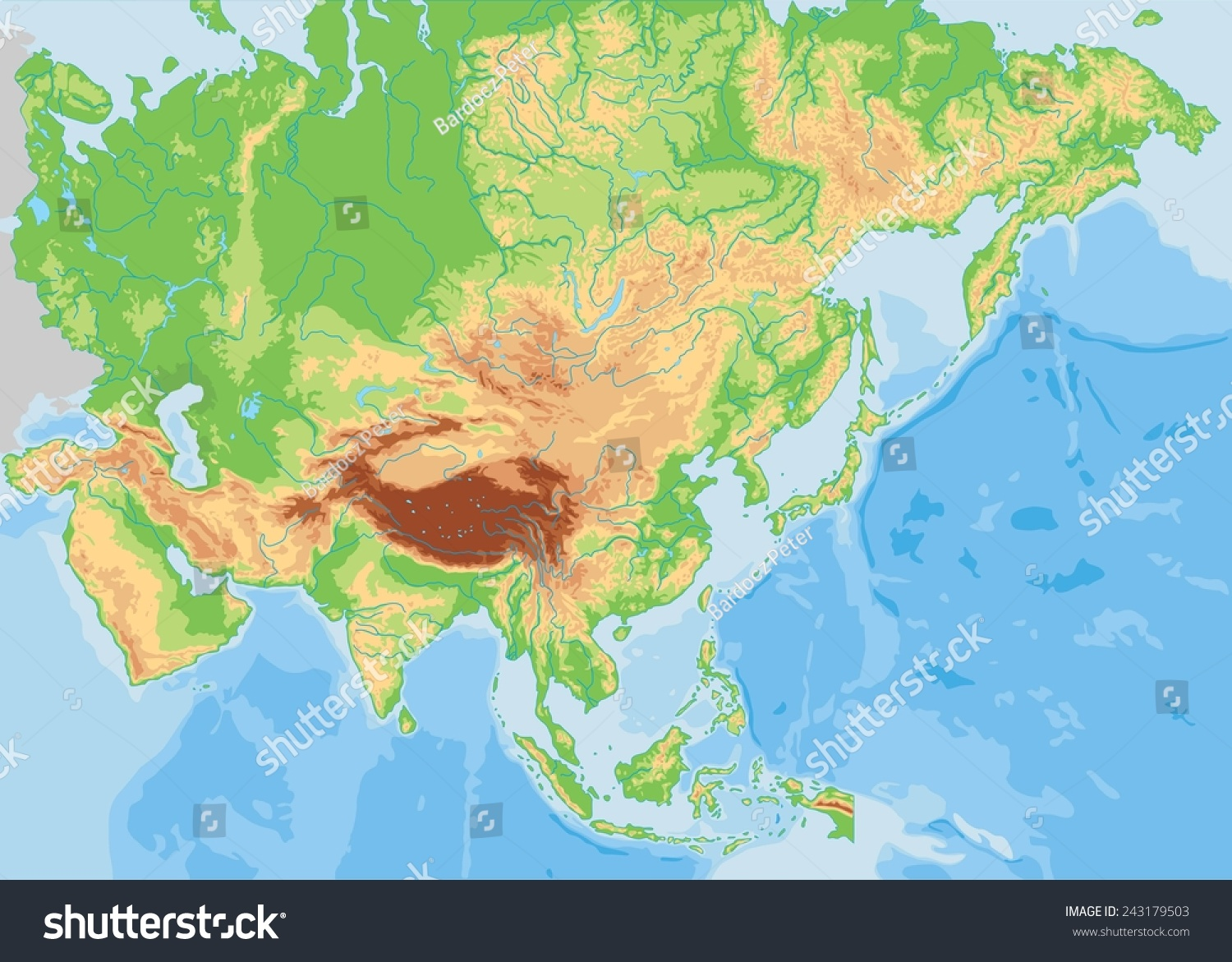 High Detailed Asia Physical Map Stock Vector Shutterstock - Asia physical map