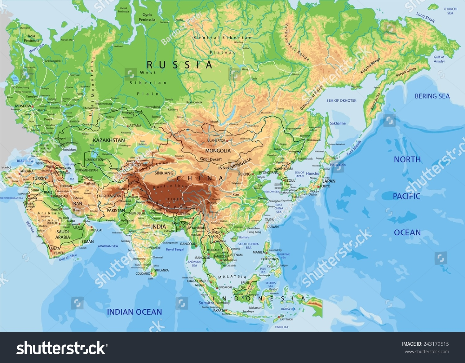 Royaltyfree High Detailed Asia Physical Map With - Asia physical map