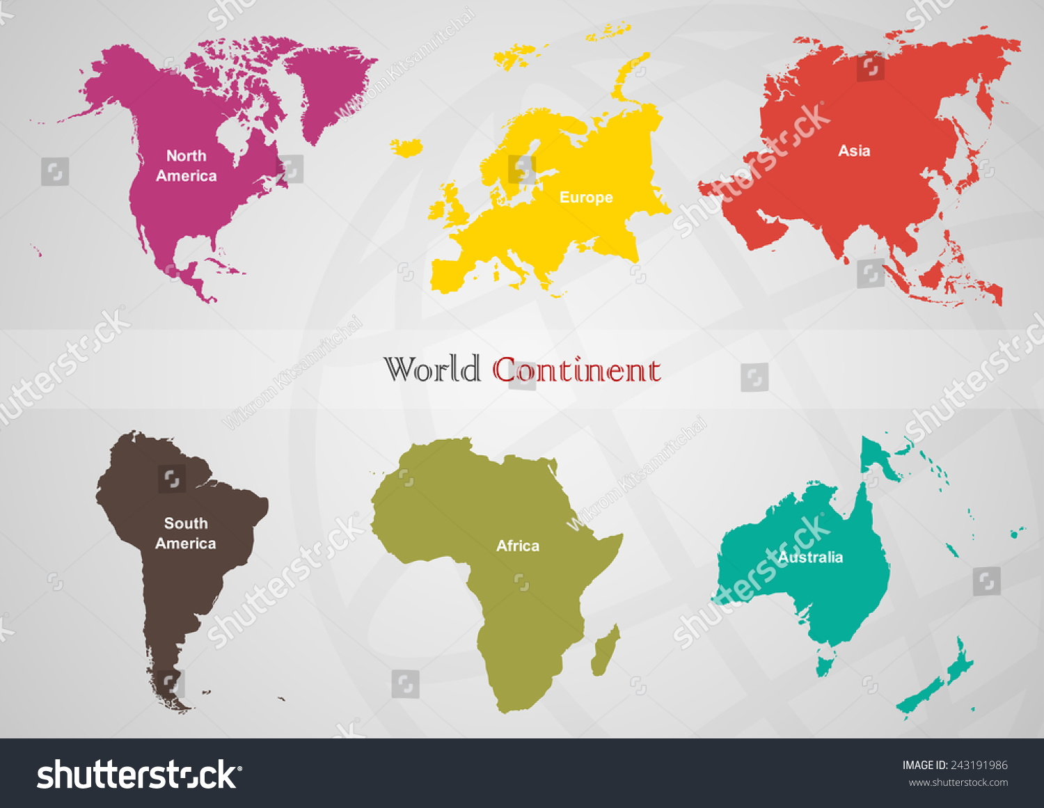 Separated area each continent world on stock vector 243191986 the separated area of each continent in the world on gray back groundeps10 gumiabroncs Choice Image