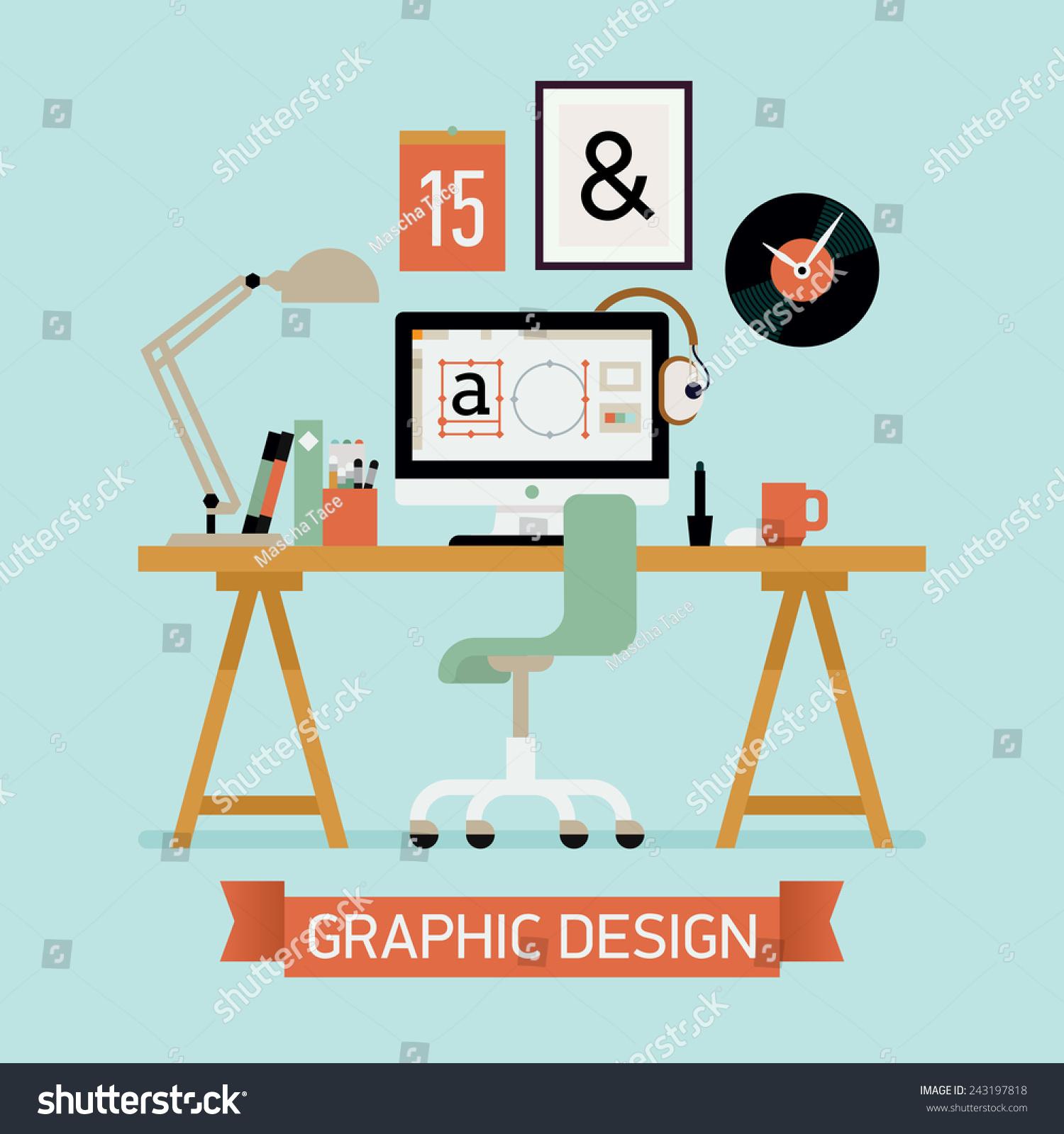 Vector Modern Flat Concept Design On Graphic Designer