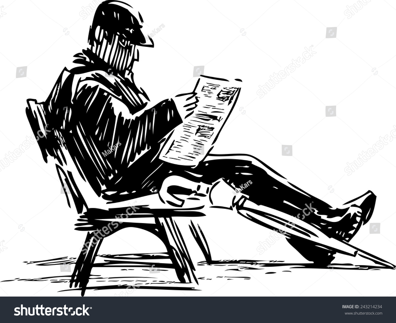 man reading newspaper stock vector (royalty free) 243214234