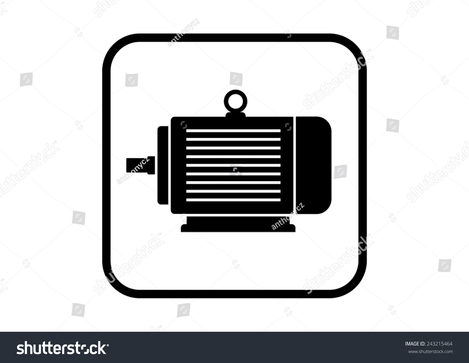Electric Motor Icon On White Background Stock Vector 243215464 ... for Electric Motor Symbol  588gtk