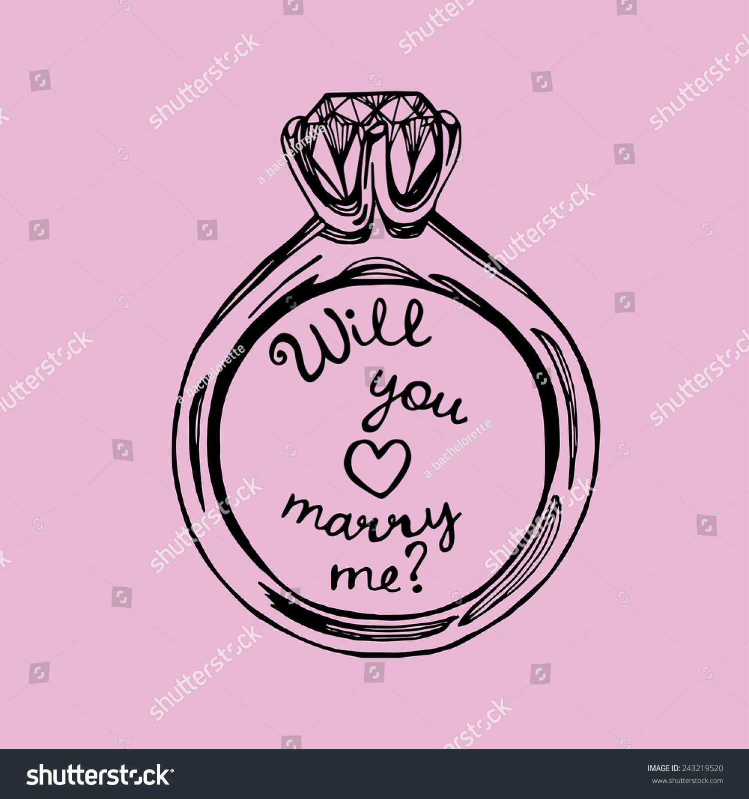 Royalty-free Hand drawn will you marry me wedding… #243219520 Stock ...