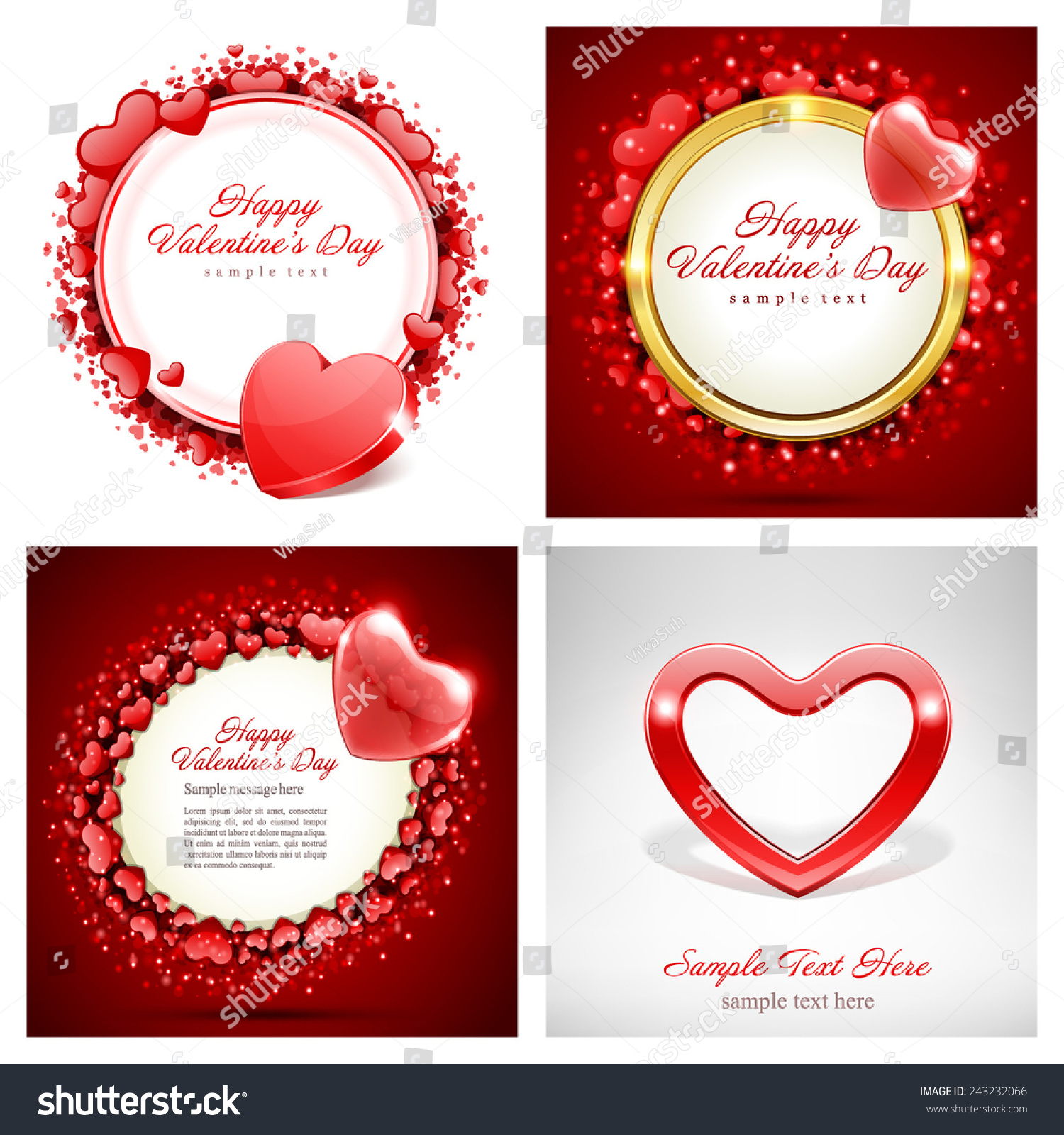 Set Happy Valentines Day Backgrounds Hearts Stock Vector Royalty