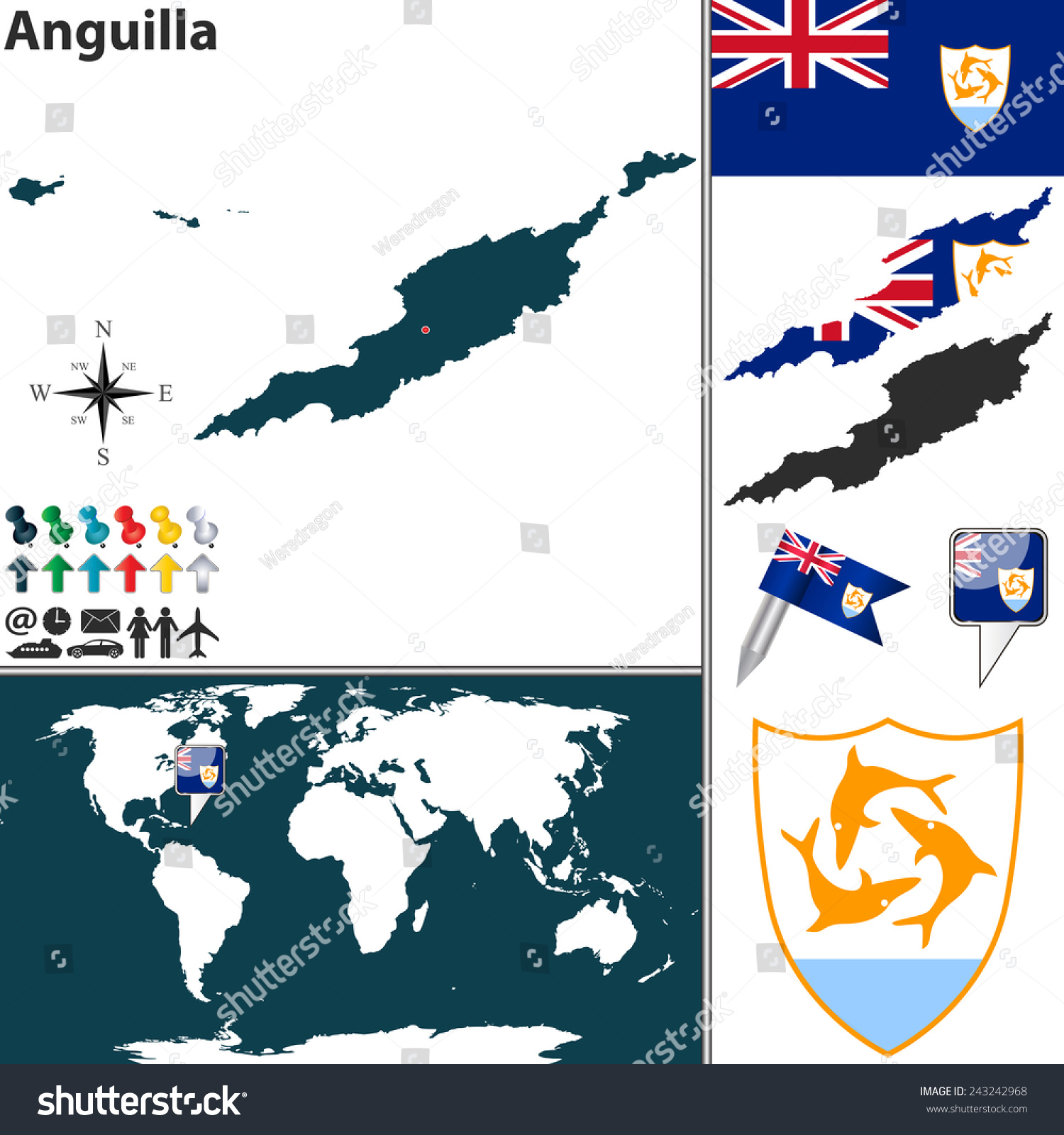 Vector Map Anguilla Coat Arms Location Stock Vector 243242968