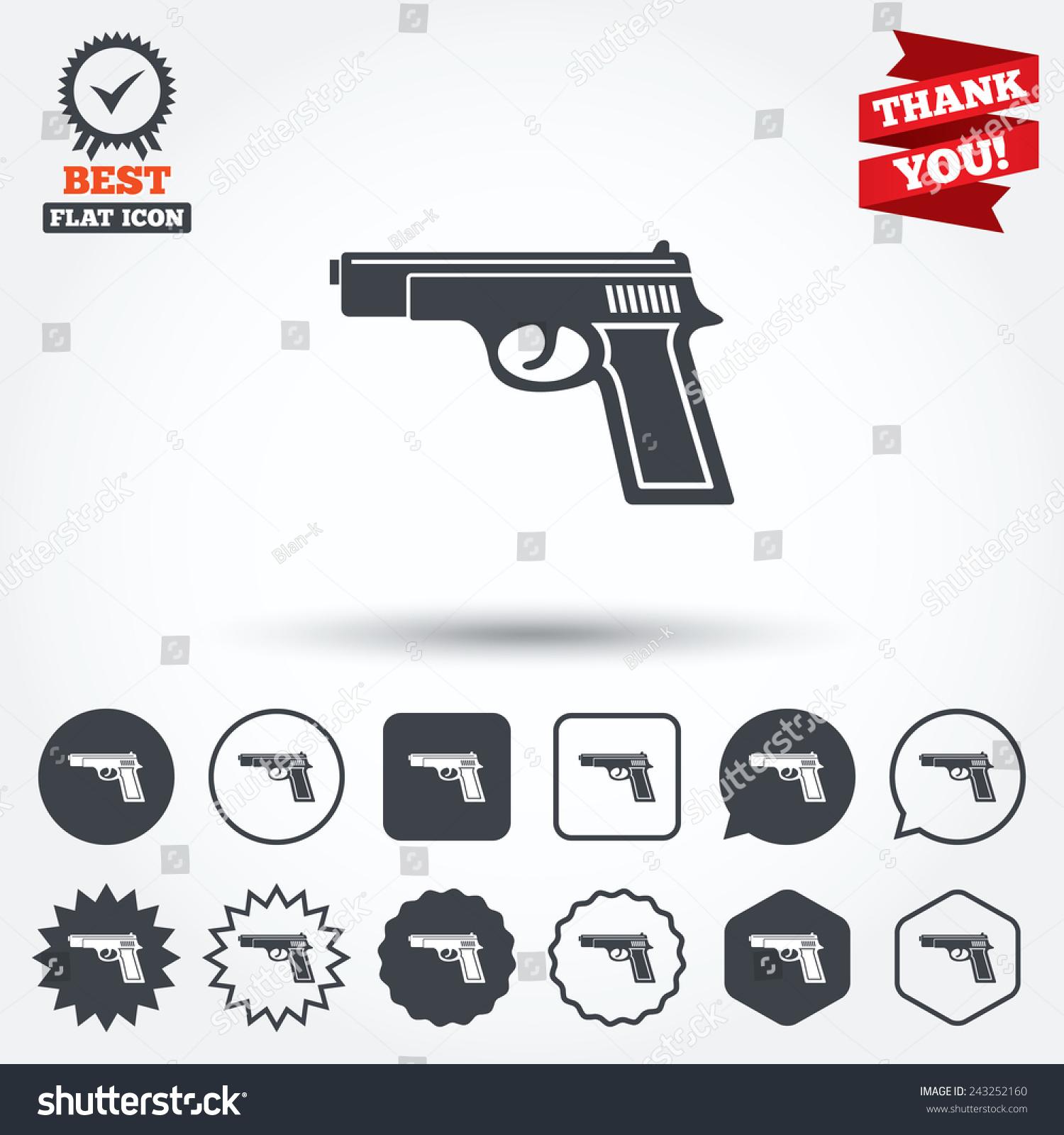 Gun sign icon firearms weapon symbol stock vector 243252160 gun sign icon firearms weapon symbol circle star speech bubble and square biocorpaavc