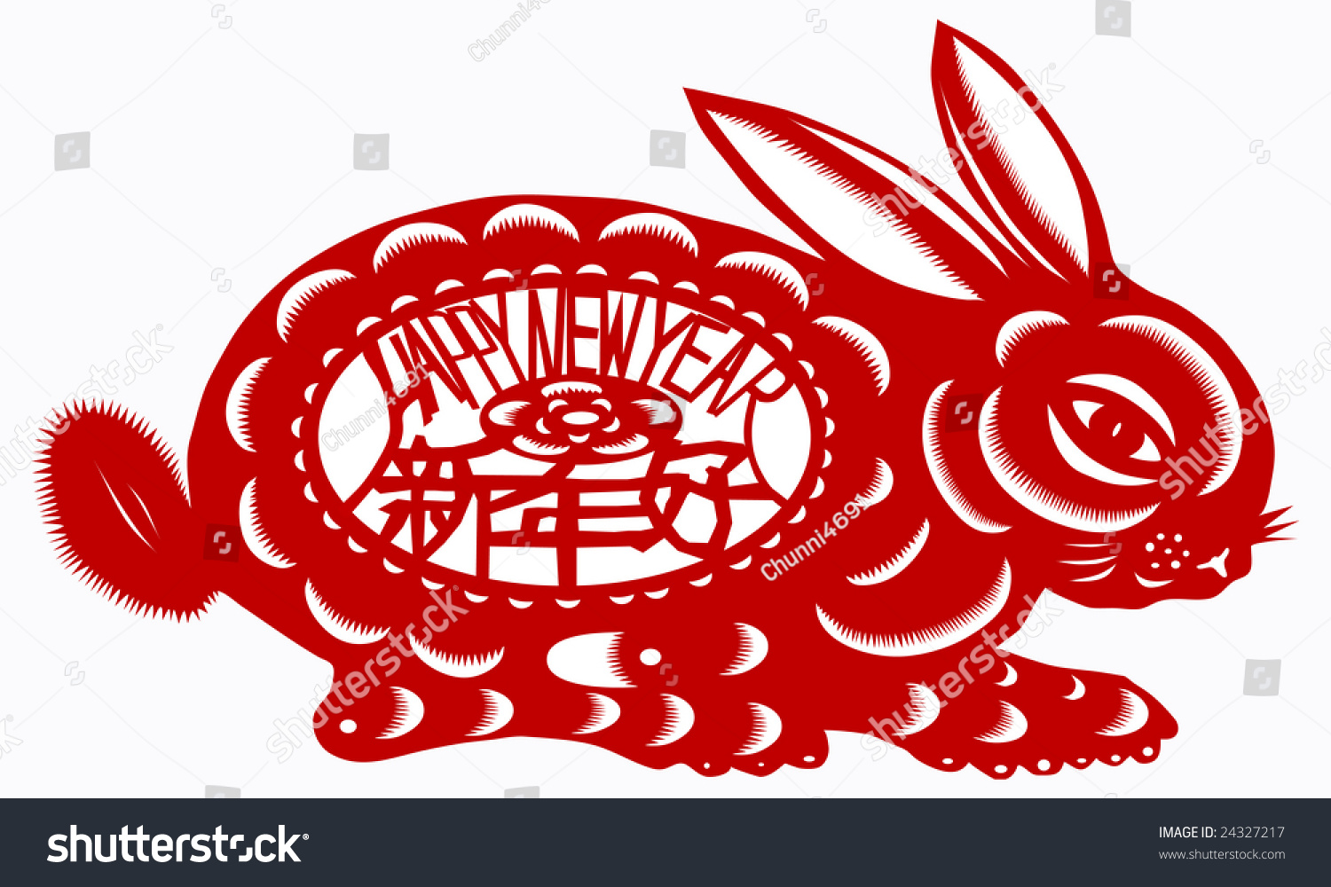 chinese zodiac rabbit year three chinese stock vector 24327217 shutterstock. Black Bedroom Furniture Sets. Home Design Ideas