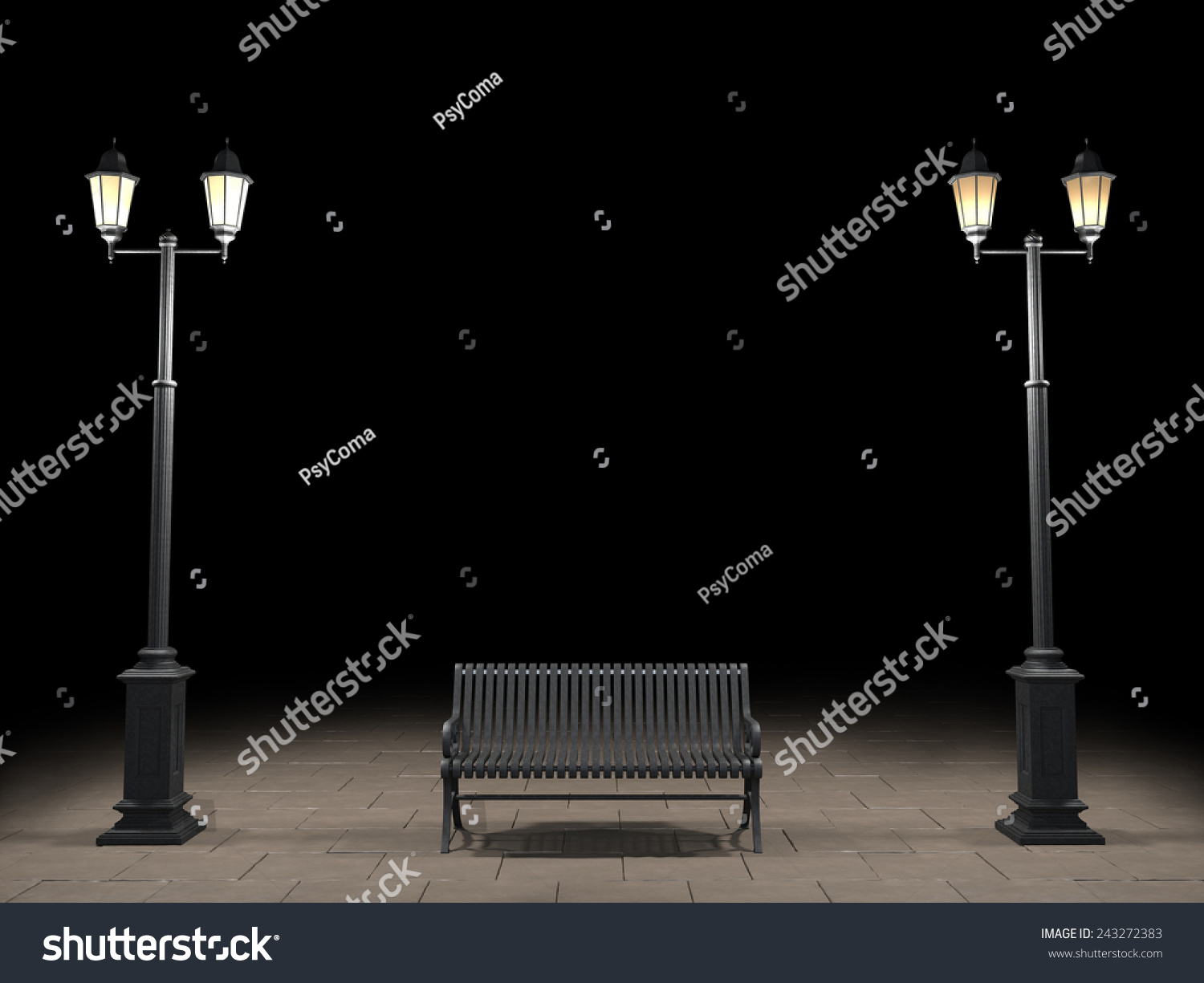 Night View Bench Street Light Stock Illustration 243272383 ...
