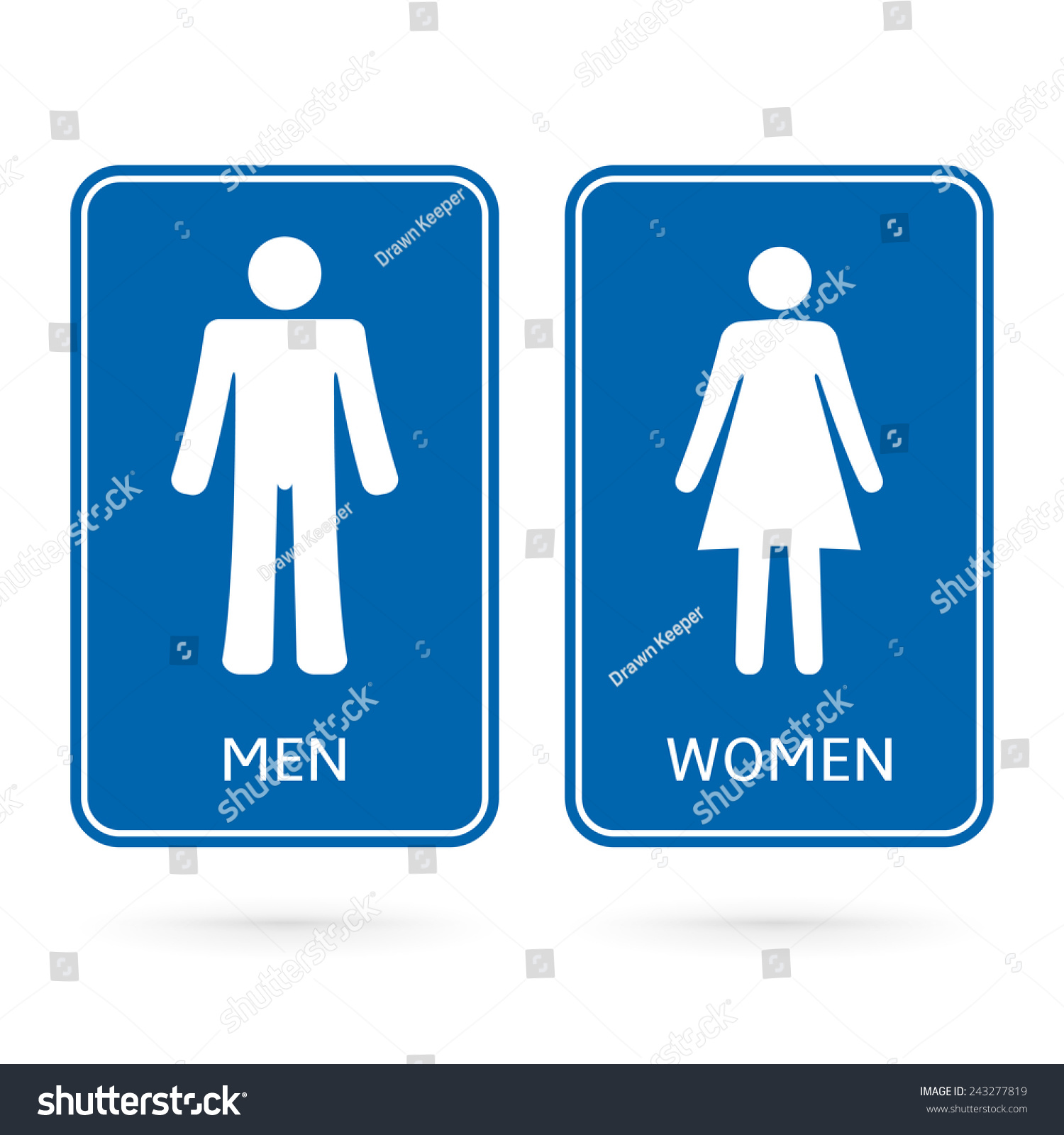 Man Woman Blue Signs Made For Gender Identification Of Restroom Or