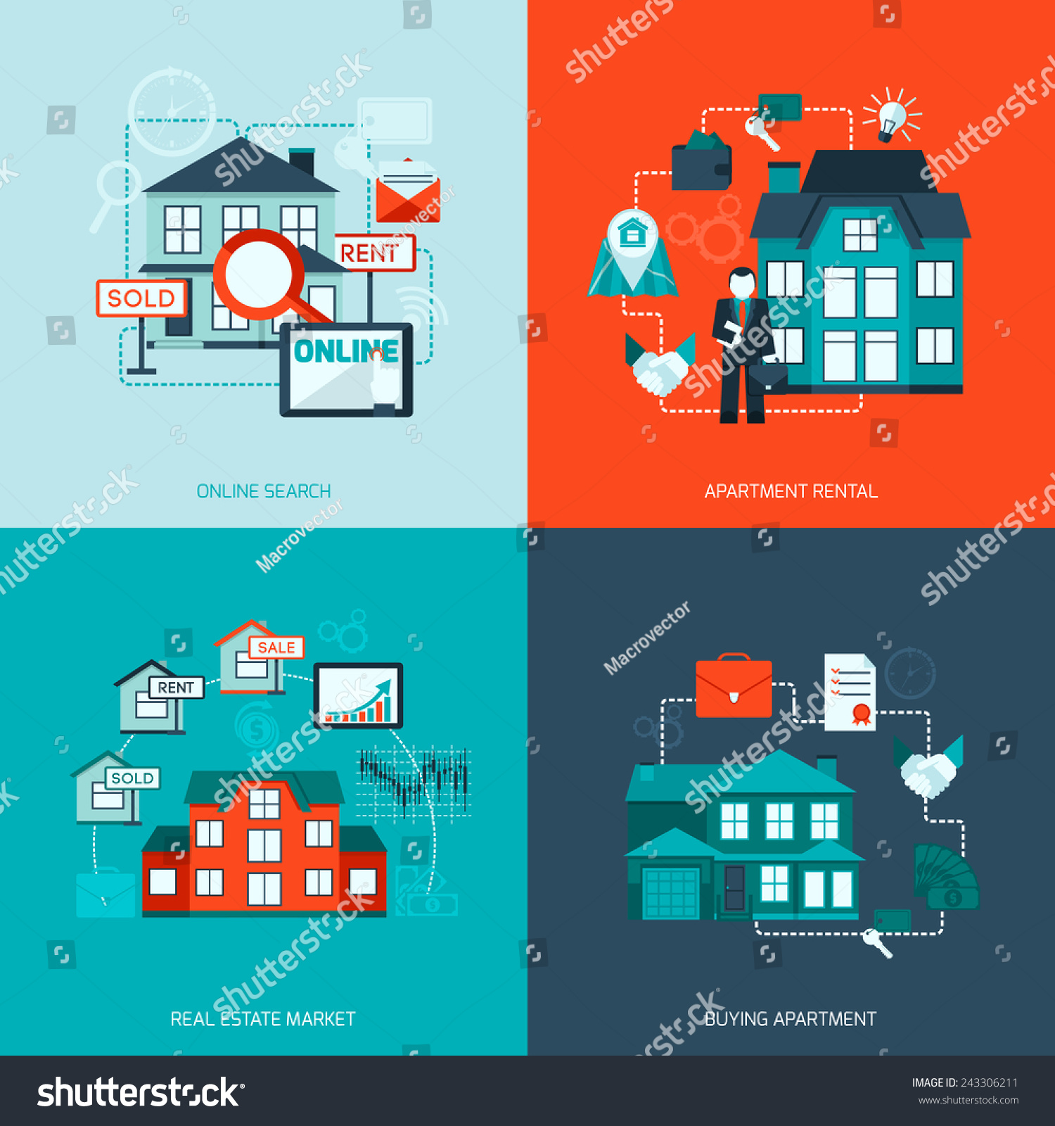 Find Rental: Real Estate Design Concept Set With Online Search