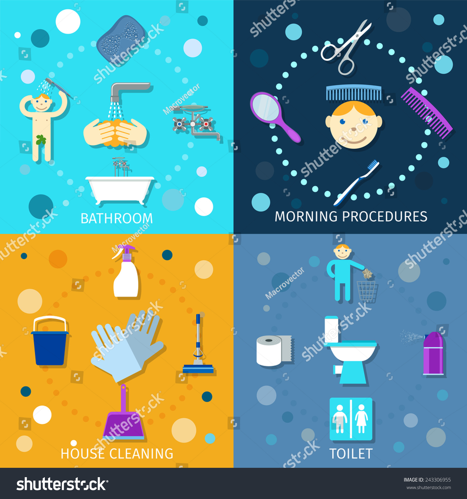 Hygiene Icons Flat Set Bathroom Morning Stock Vector ...