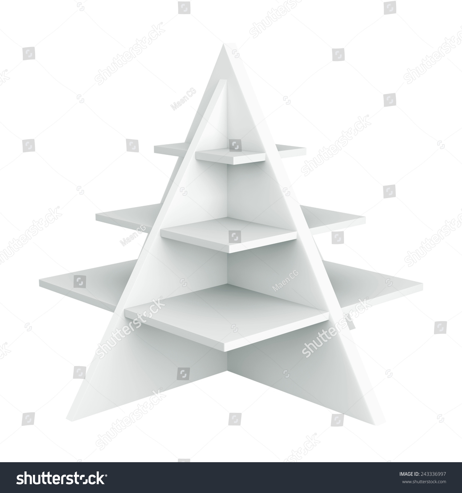 3d christmas tree shelves and shelf design object isolated