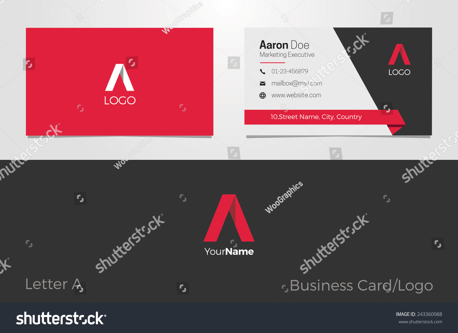 A Letter Logo Corporate Business Card Stock Vector