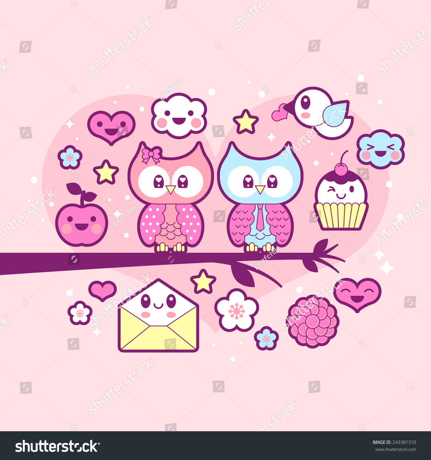 Valentineu0027s Day Kawaii Icon Set With Cute Owls