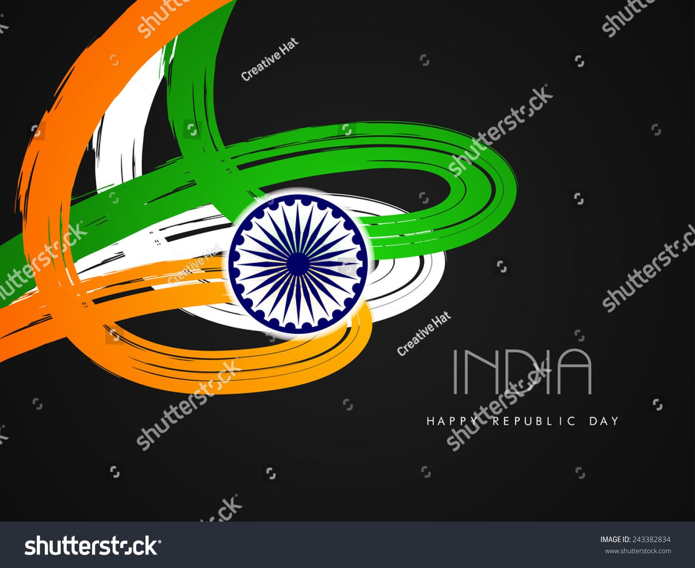 India Flag Theme: Beautiful Indian Flag Theme Card Design Stock Vector