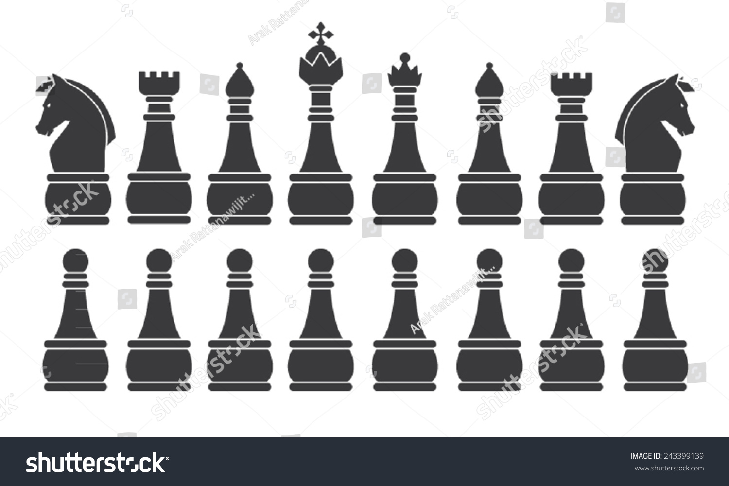 Black Chess Set Symbol Icon Graphic Stock Vector Royalty Free