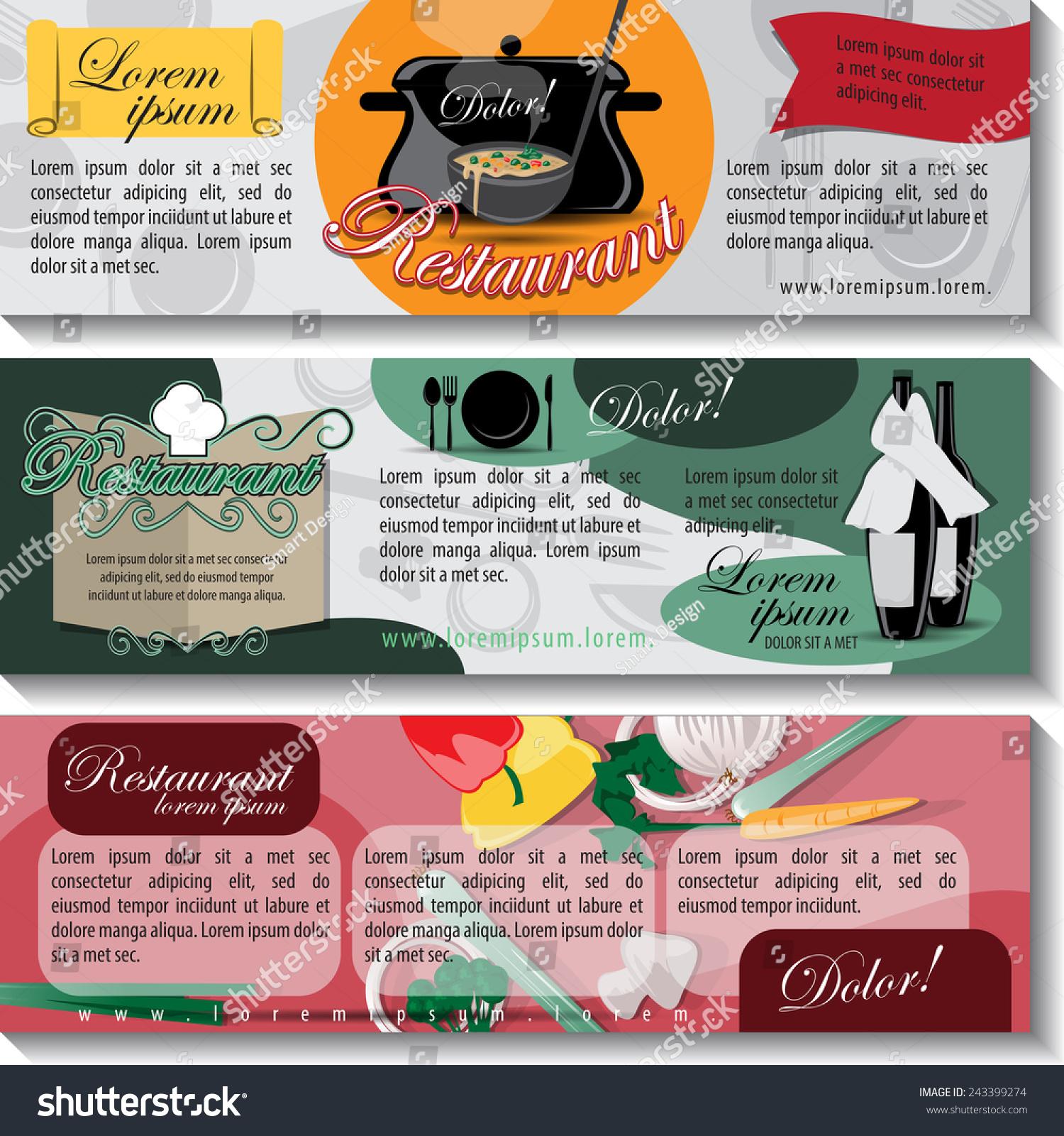 Restaurant flyer template set vector illustration