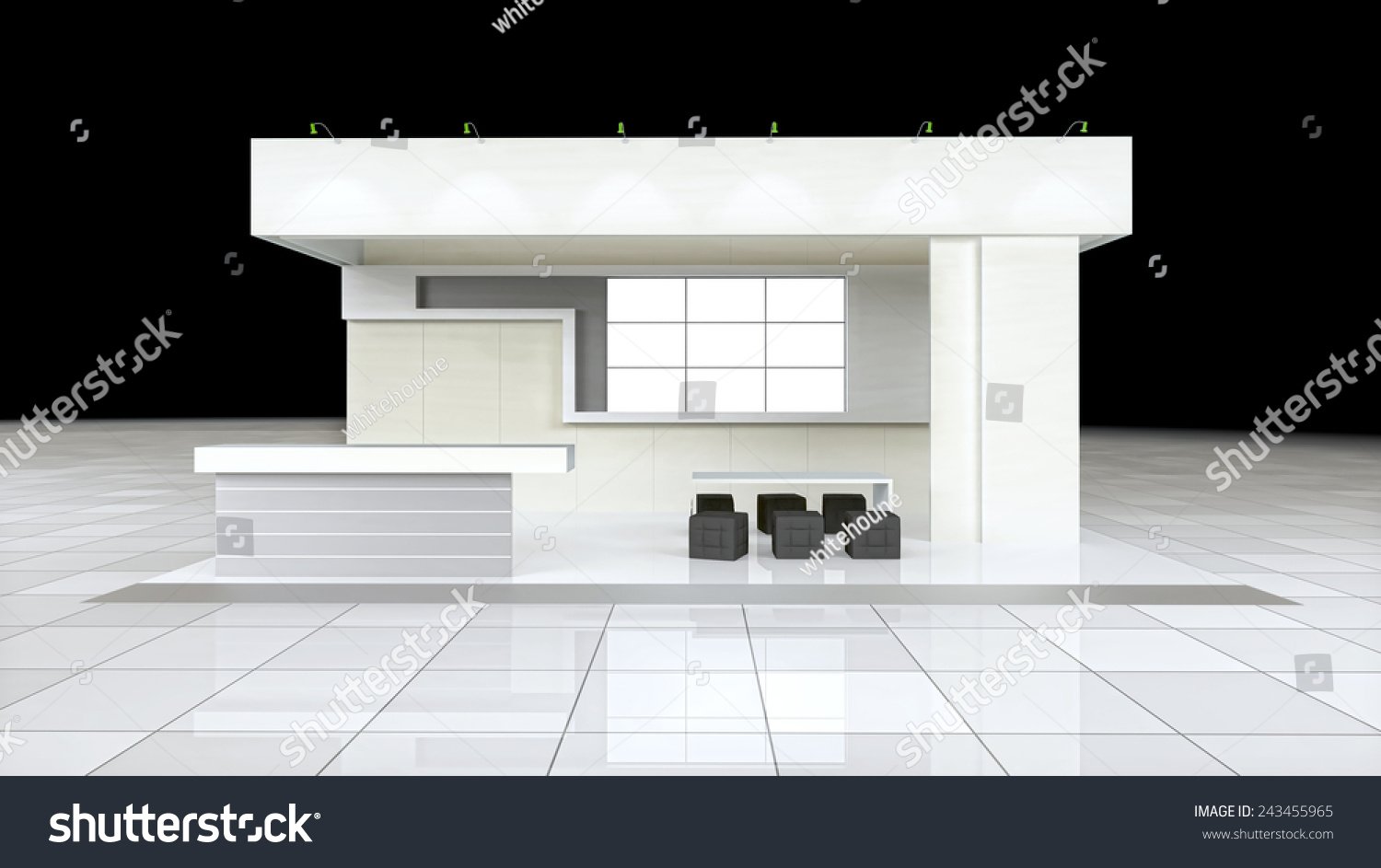 Modern Exhibition Stand Design : Modern design exhibition stand with blank white frieze and